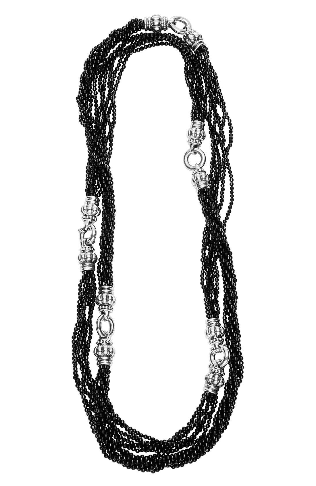 'Black Caviar' Beaded Necklace,                         Main,                         color, Black Caviar/ Silver