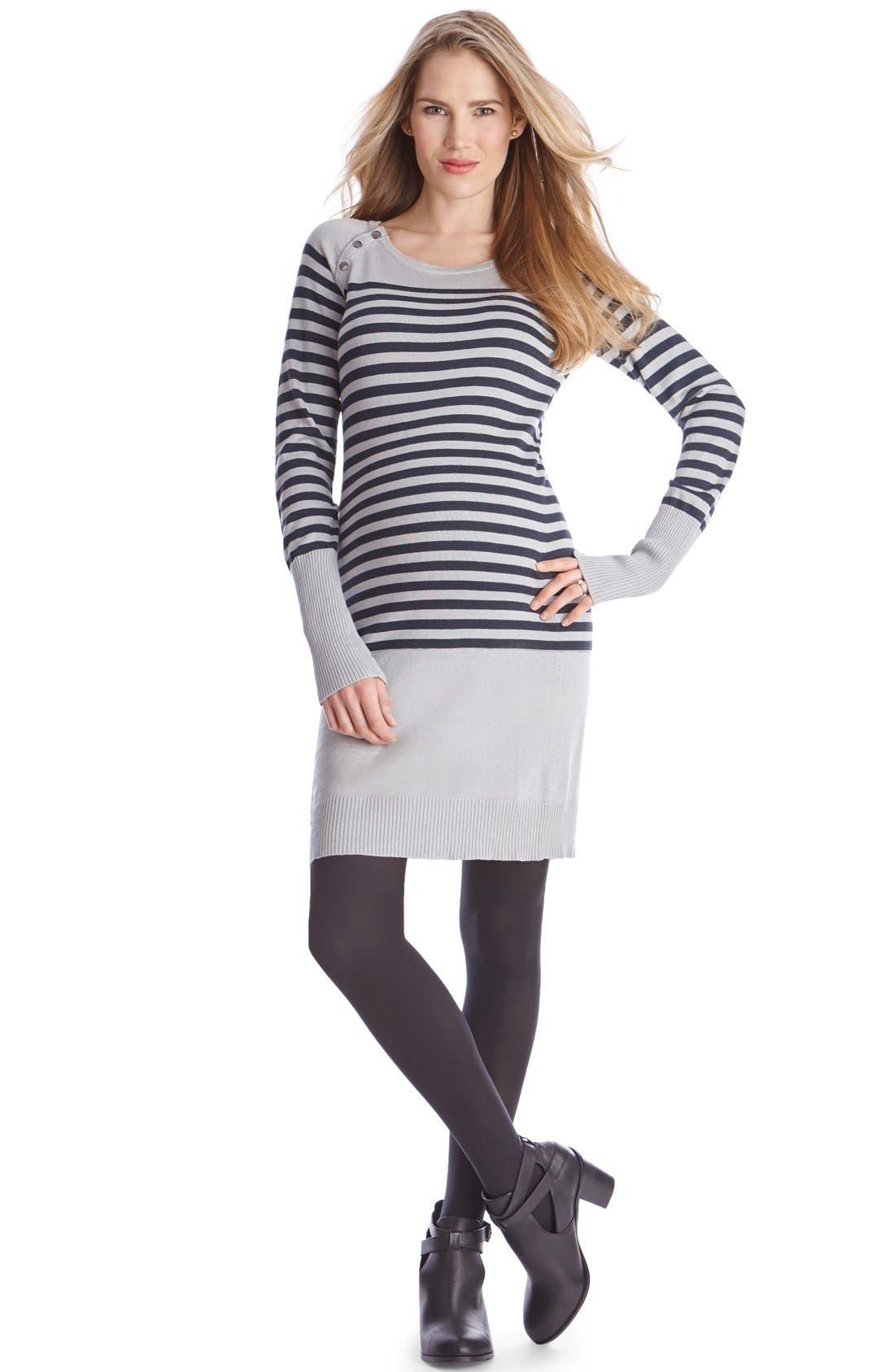 Main Image - Seraphine'Rozalia' Stripe Maternity/Nursing Sweater Dress
