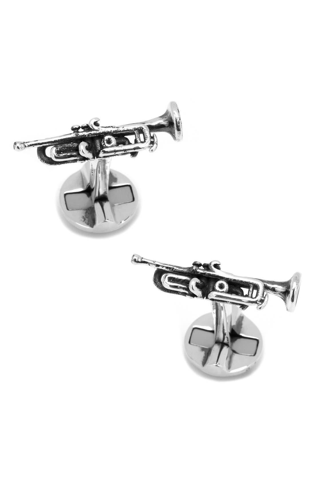 TrumpetCuff Links,                         Main,                         color, Silver