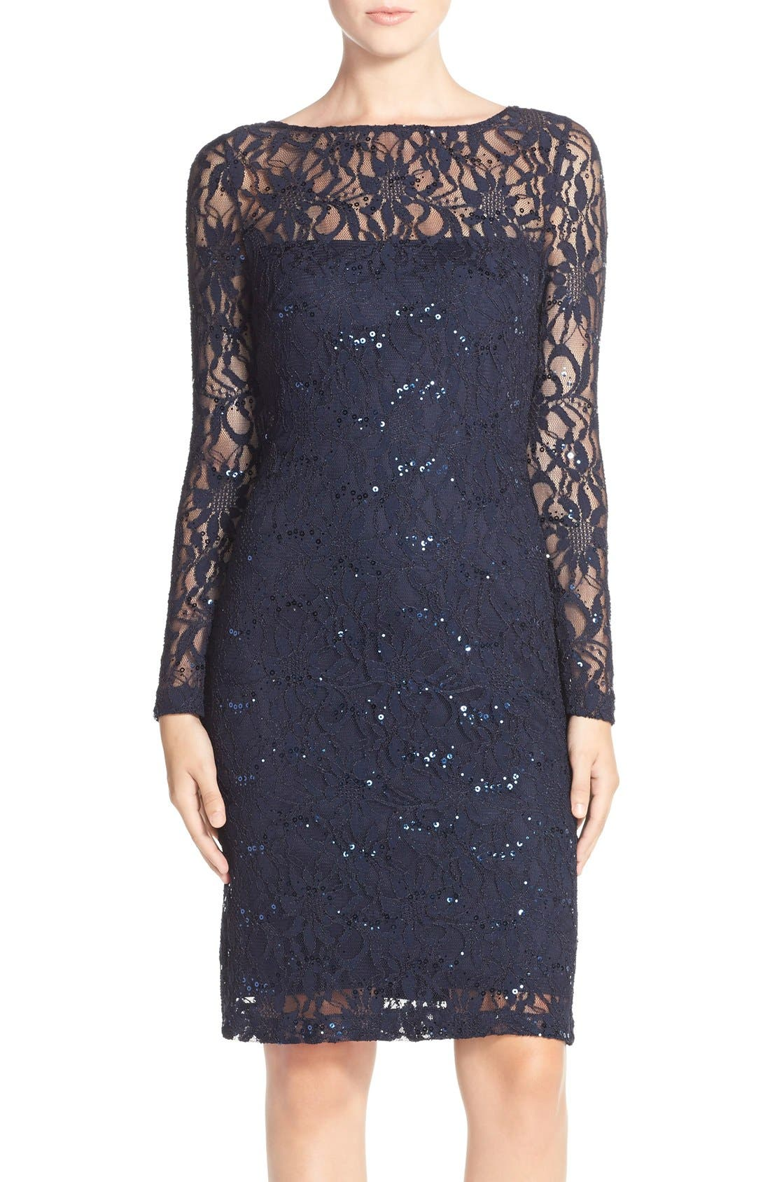 Alternate Image 1 Selected - JS Collections Illusion Lace Dress