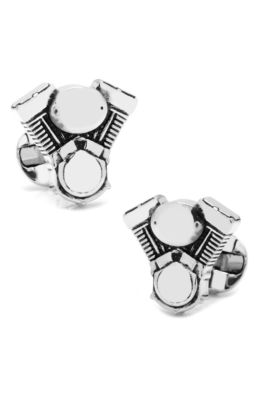 V-Twin Motor Cuff Links,                         Main,                         color, Silver