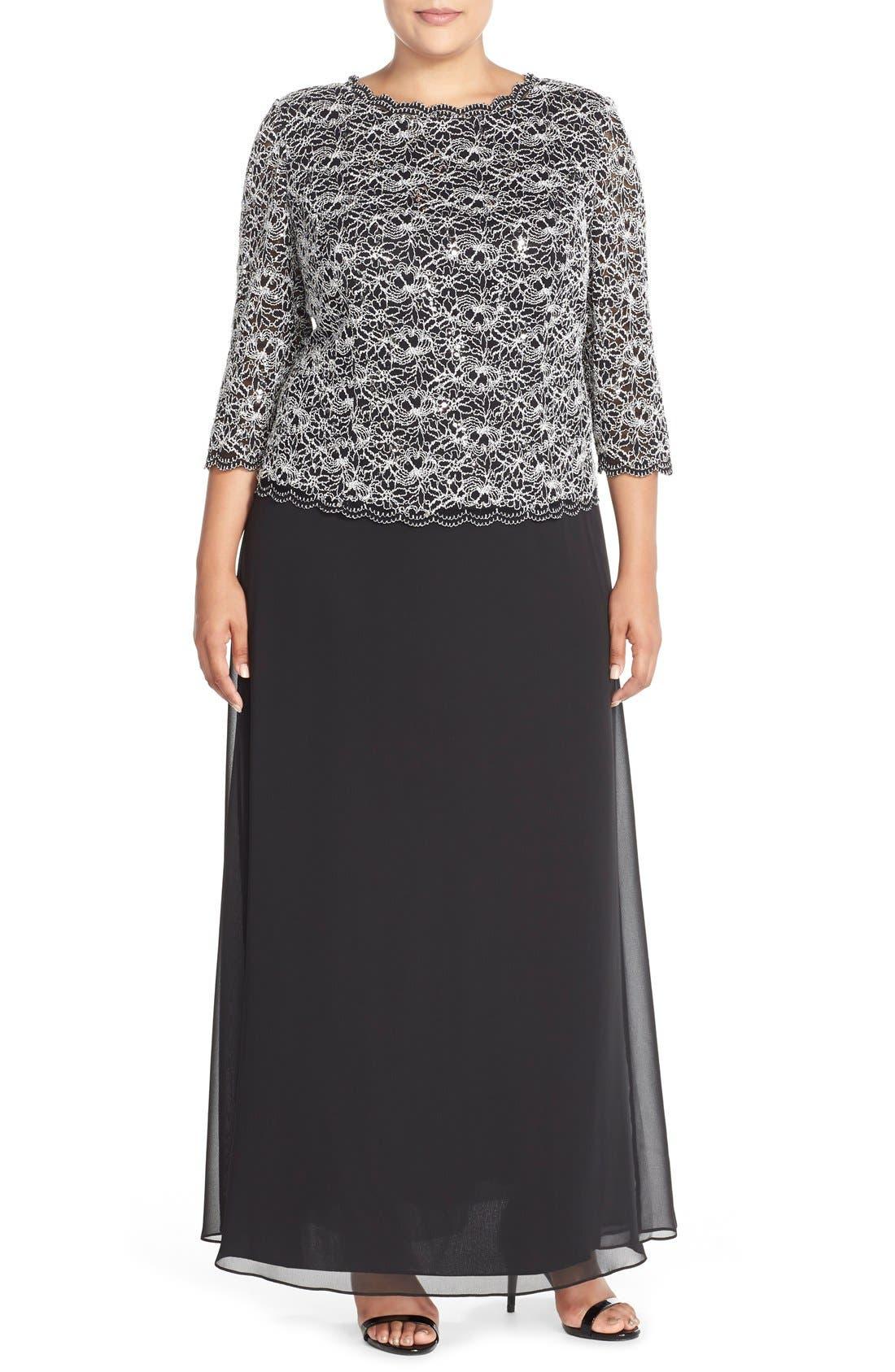 Mock Two-Piece Lace & Chiffon A-Line Gown,                         Main,                         color, Black/ White