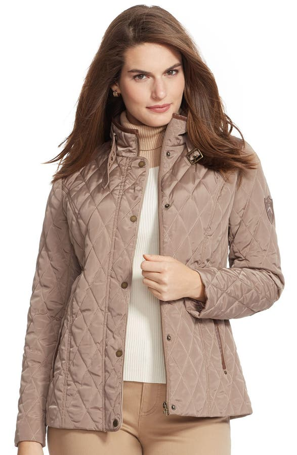 Lauren Ralph Lauren Faux Leather Trim Quilted Jacket (Plus Size ... : quilted jacket plus size - Adamdwight.com