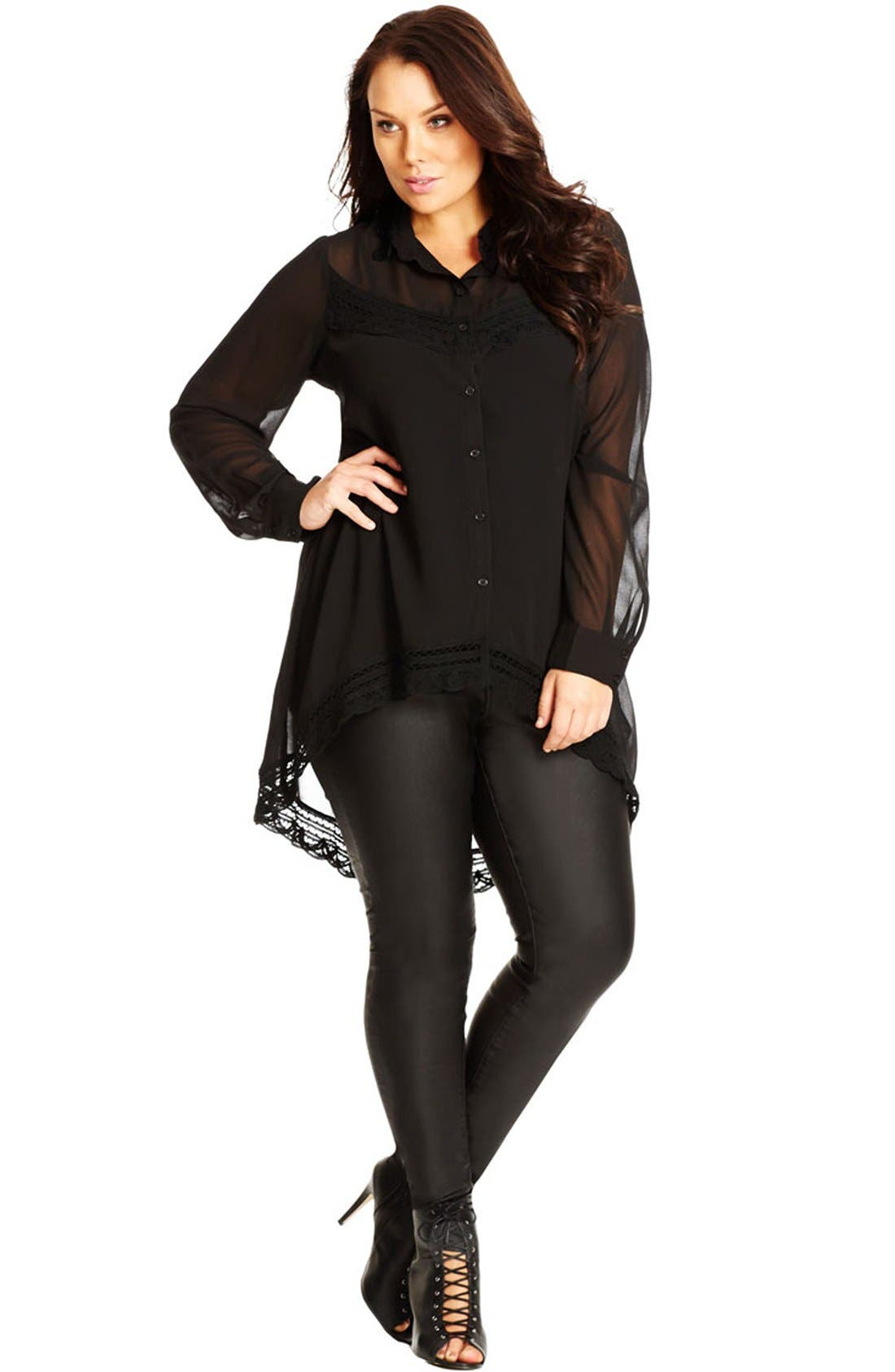 Crochet Trim Tunic Shirt,                         Main,                         color, Black