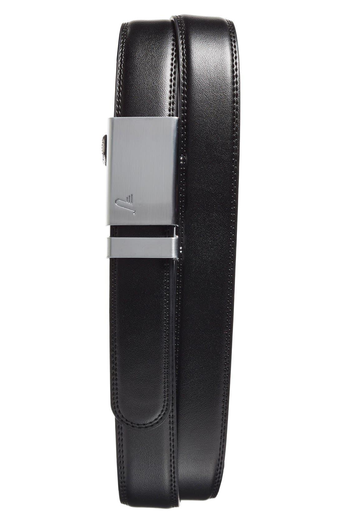 'Alloy' Leather Belt,                             Main thumbnail 1, color,                             Alloy/ Black