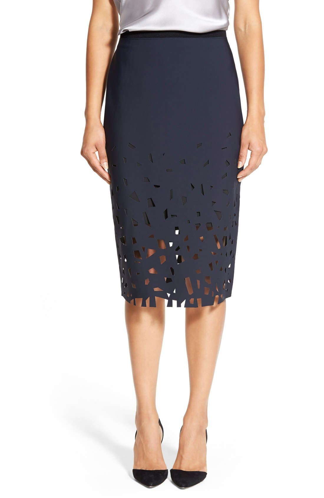Alternate Image 1 Selected - Elie Tahari 'Violet' Laser Cut Pencil Skirt