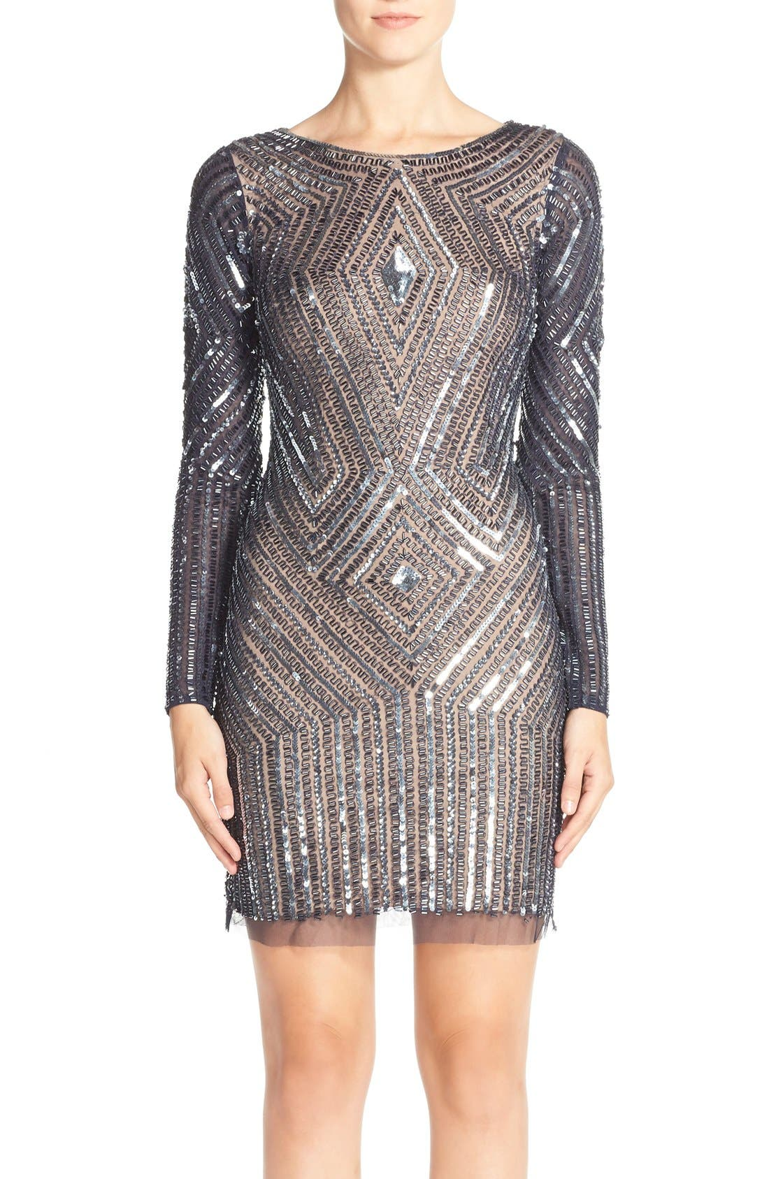 Alternate Image 1 Selected - Adrianna Papell Beaded Mesh Sheath Dress