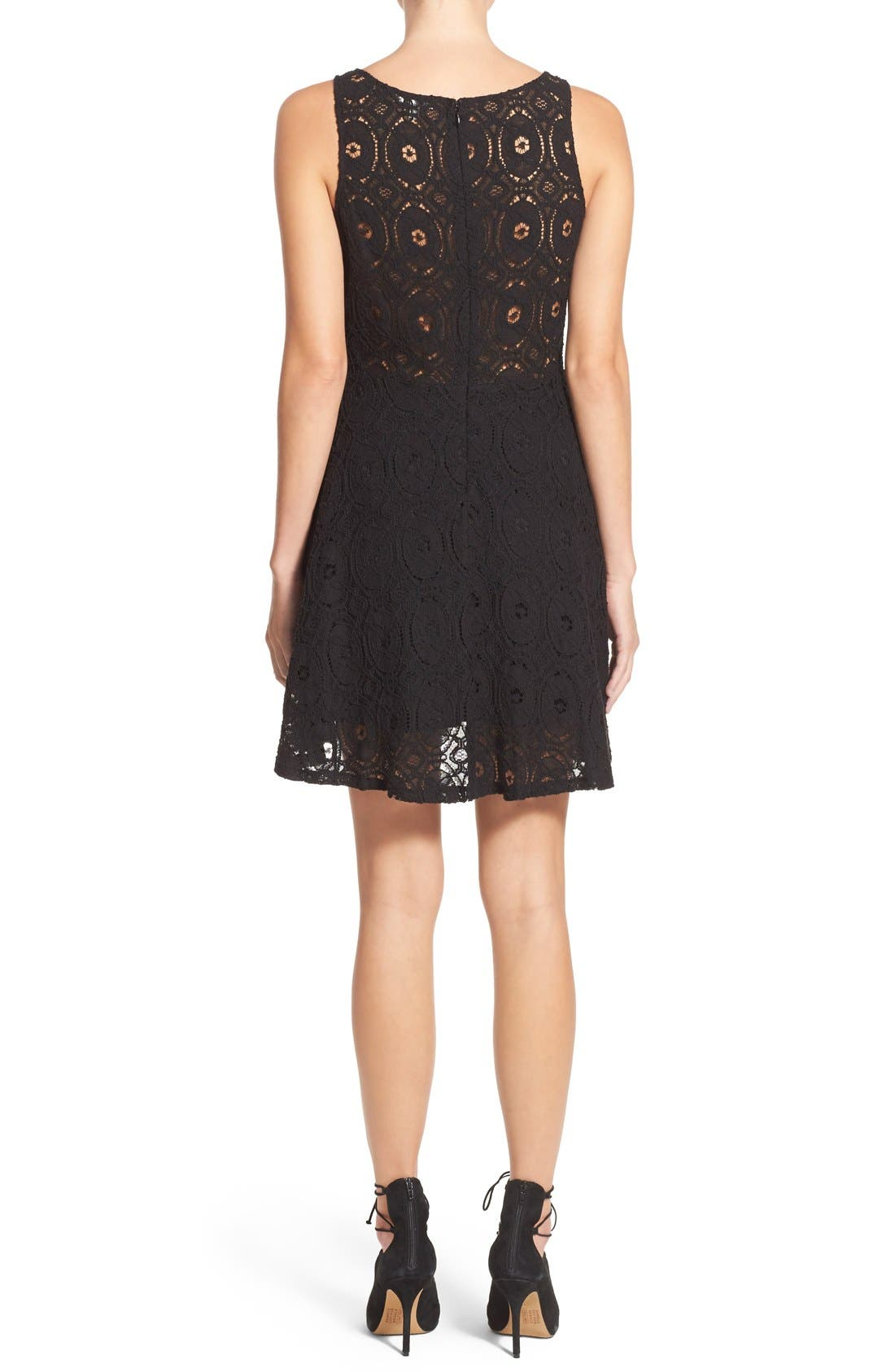'Renley' Lace Fit & Flare Dress,                             Alternate thumbnail 2, color,                             Black