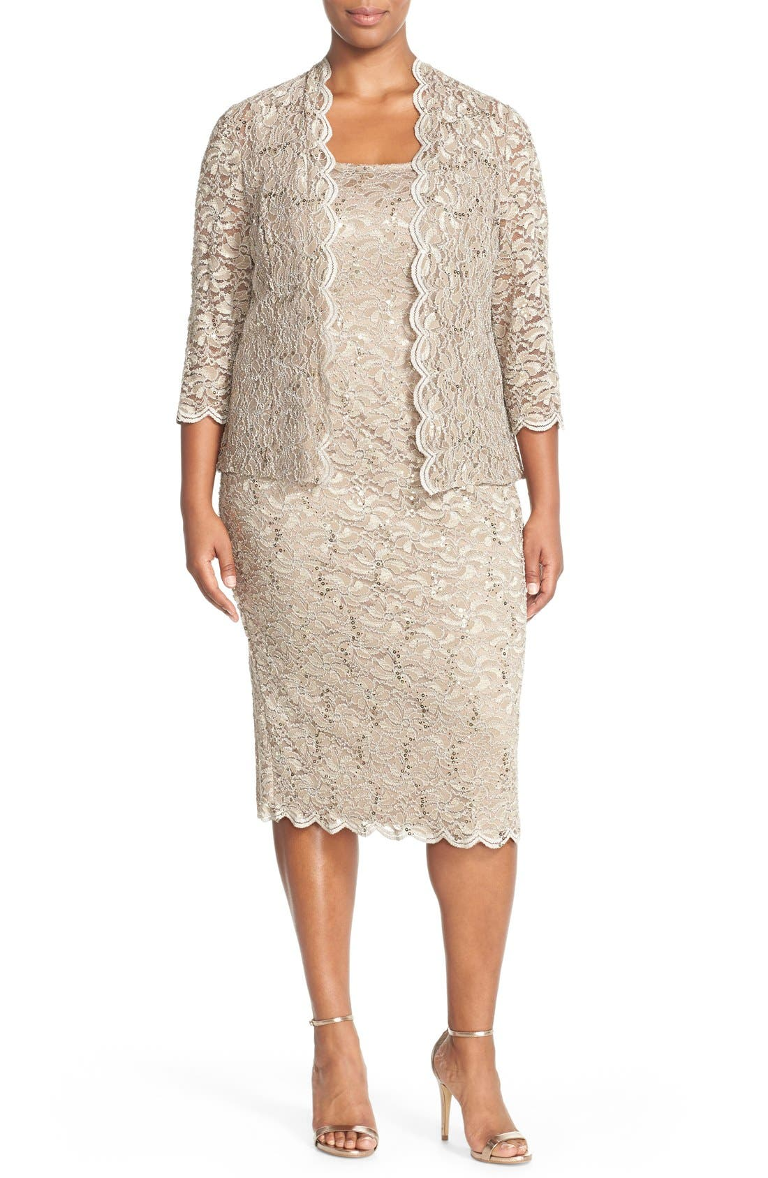 Alternate Image 1 Selected - Alex Evenings Lace Dress & Jacket (Plus Size)