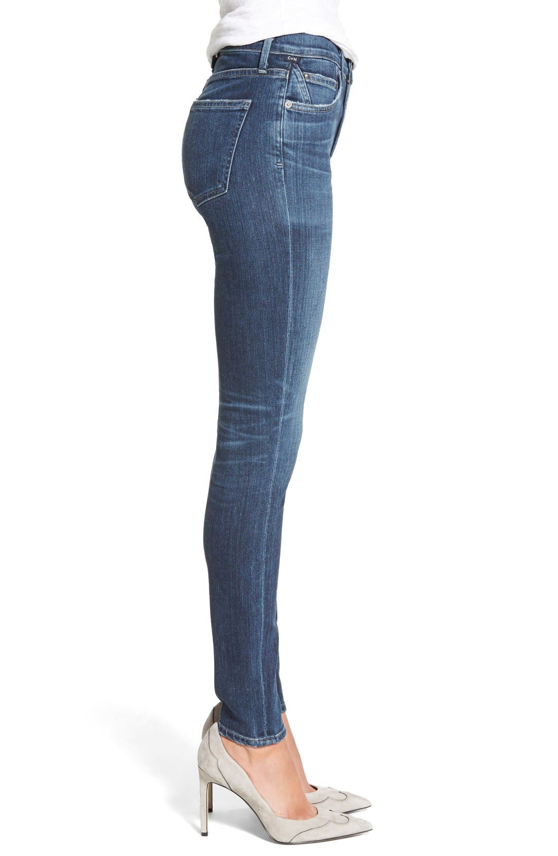 Rocket High Waist Skinny Jeans,                             Alternate thumbnail 3, color,                             Albion