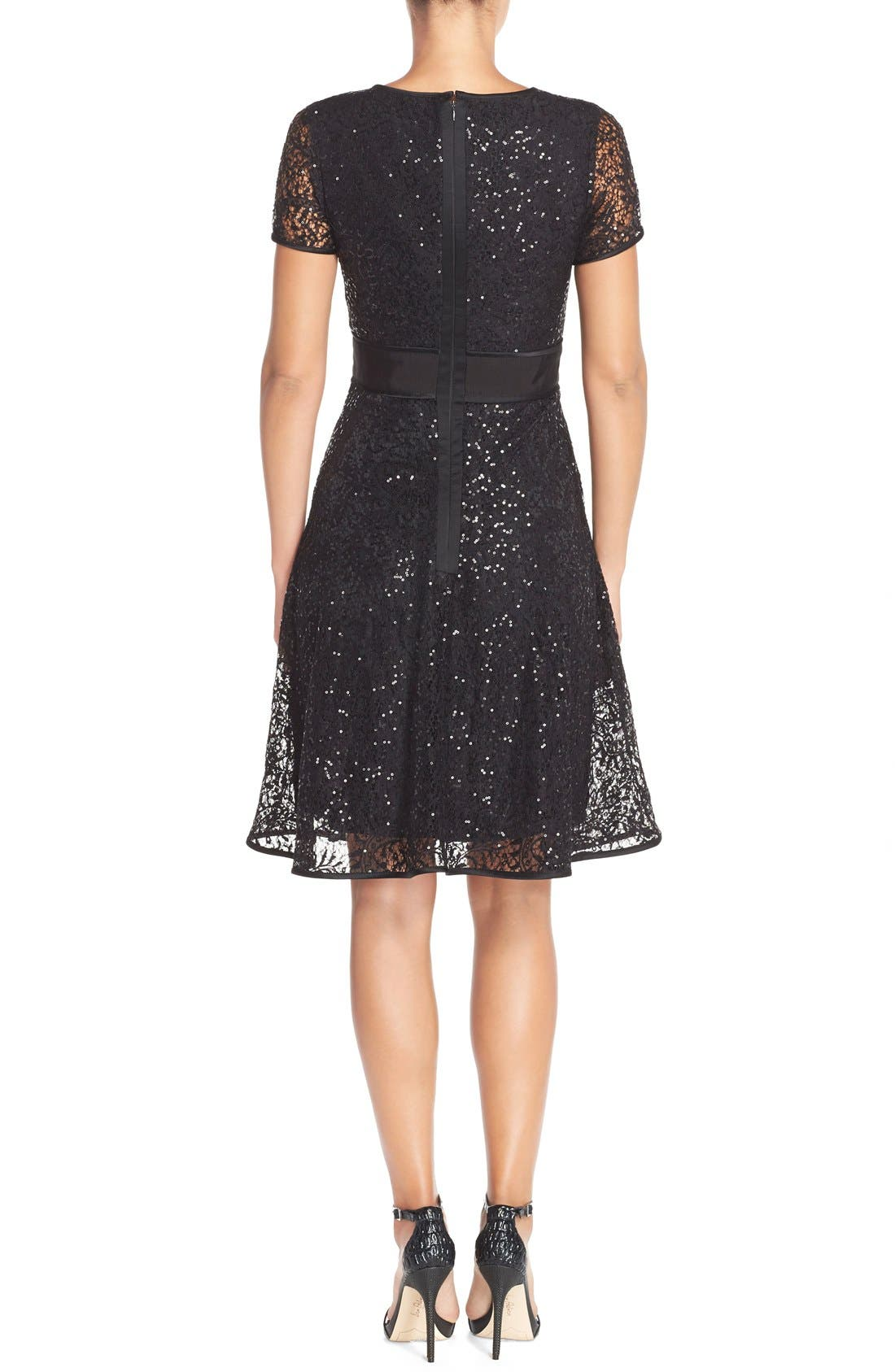 Alternate Image 2  - Nue by Shani Sequin Lace Fit & Flare Dress