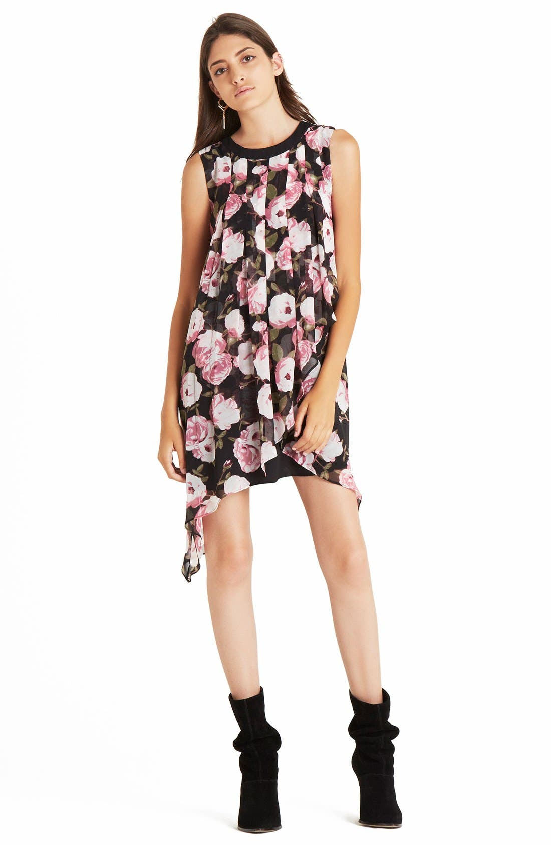 Alternate Image 3  - BCBGeneration Asymmetrical Tiered Floral Crepe Shift Dress