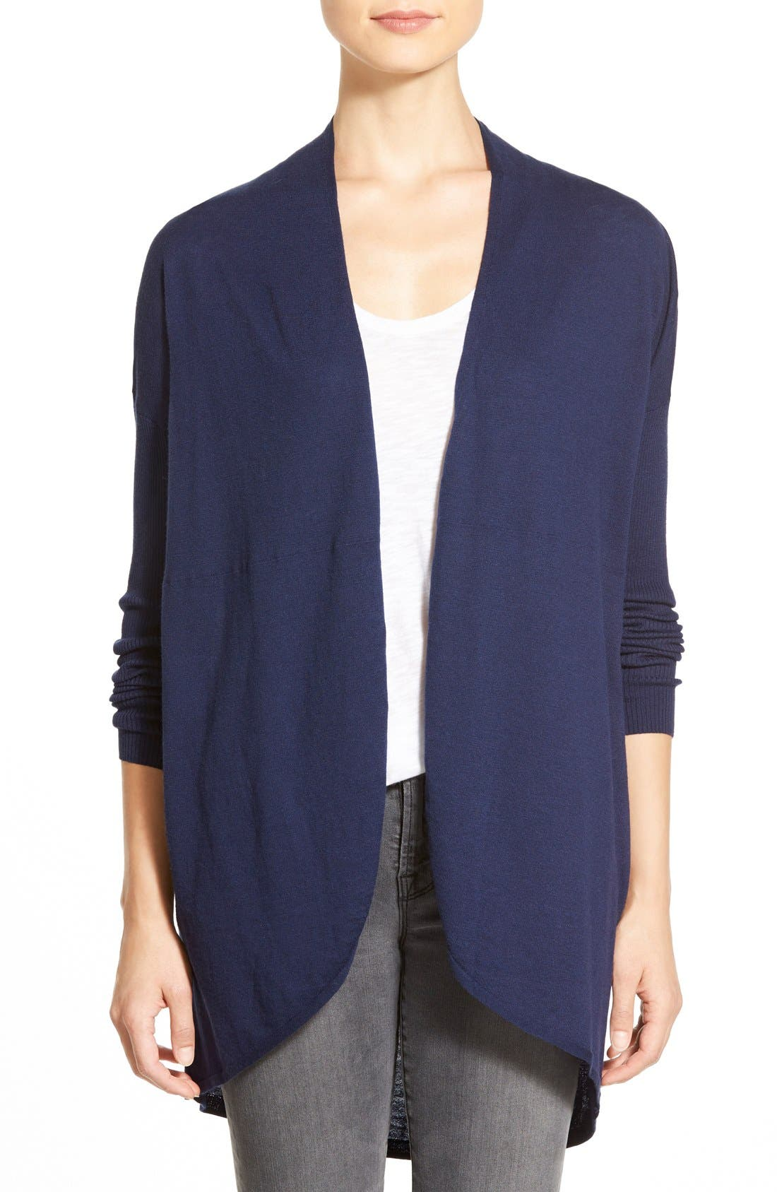 Main Image - Halogen® Rib Sleeve Cocoon Cardigan (Regular & Petite)