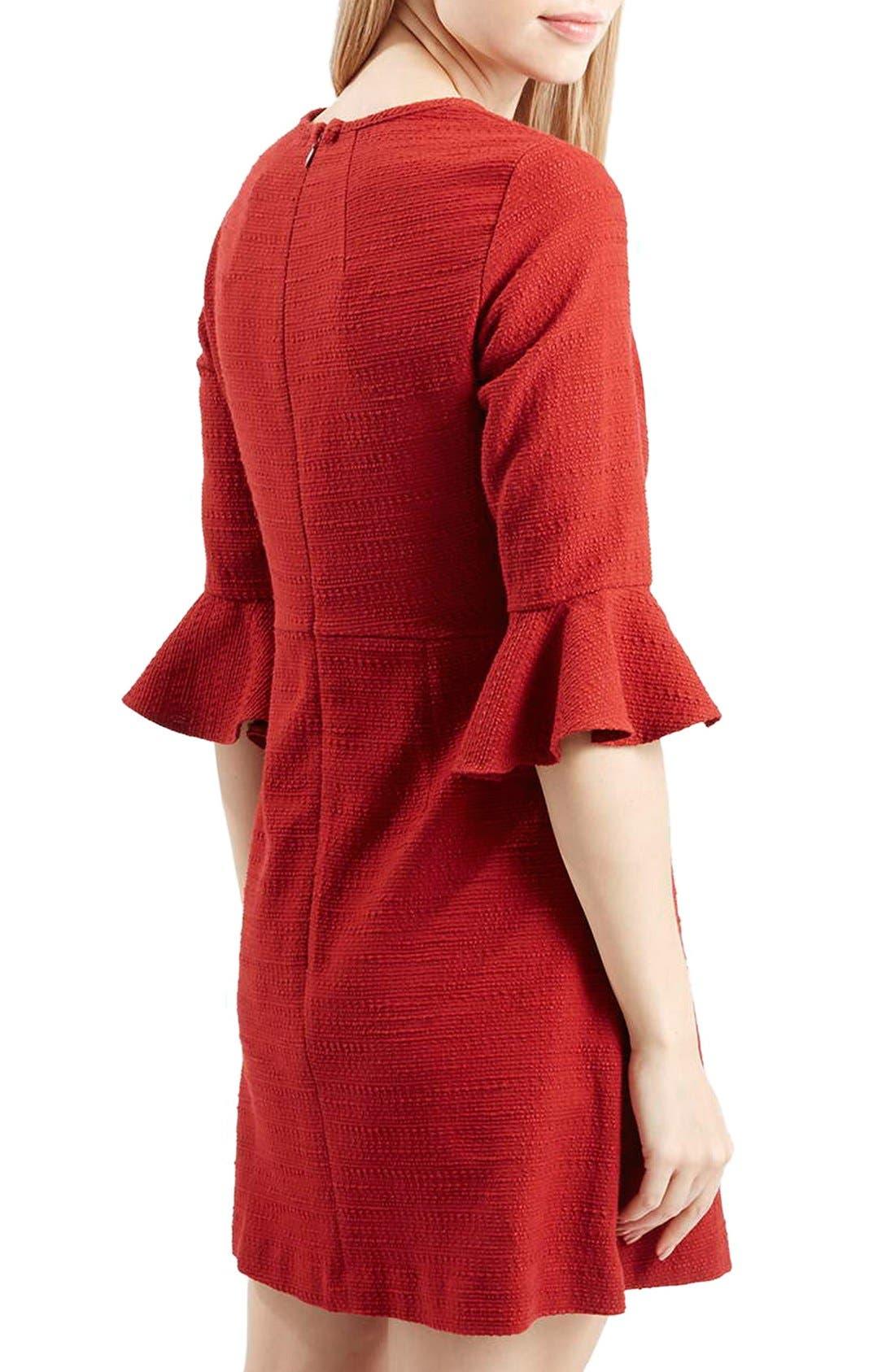 Alternate Image 2  - Topshop Fluted Sleeve Dress (Regular & Petite)
