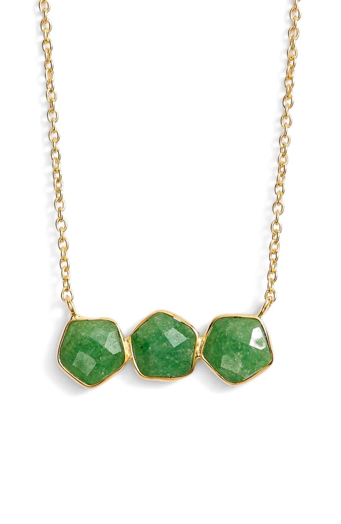 ArgentoVivoThree Stone Frontal Necklace,                         Main,                         color, Gold/ Green Aventurine