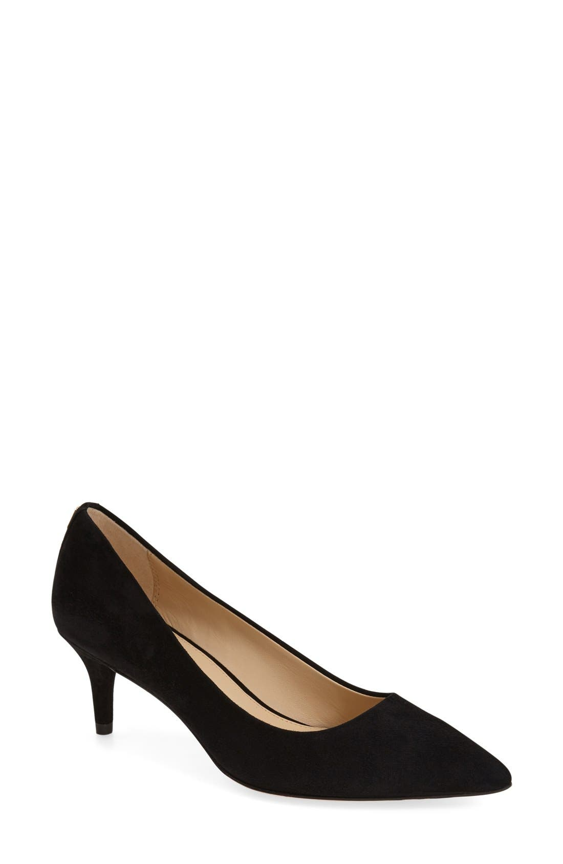 Lacey Pointy Toe Pump,                             Main thumbnail 1, color,                             Black Suede