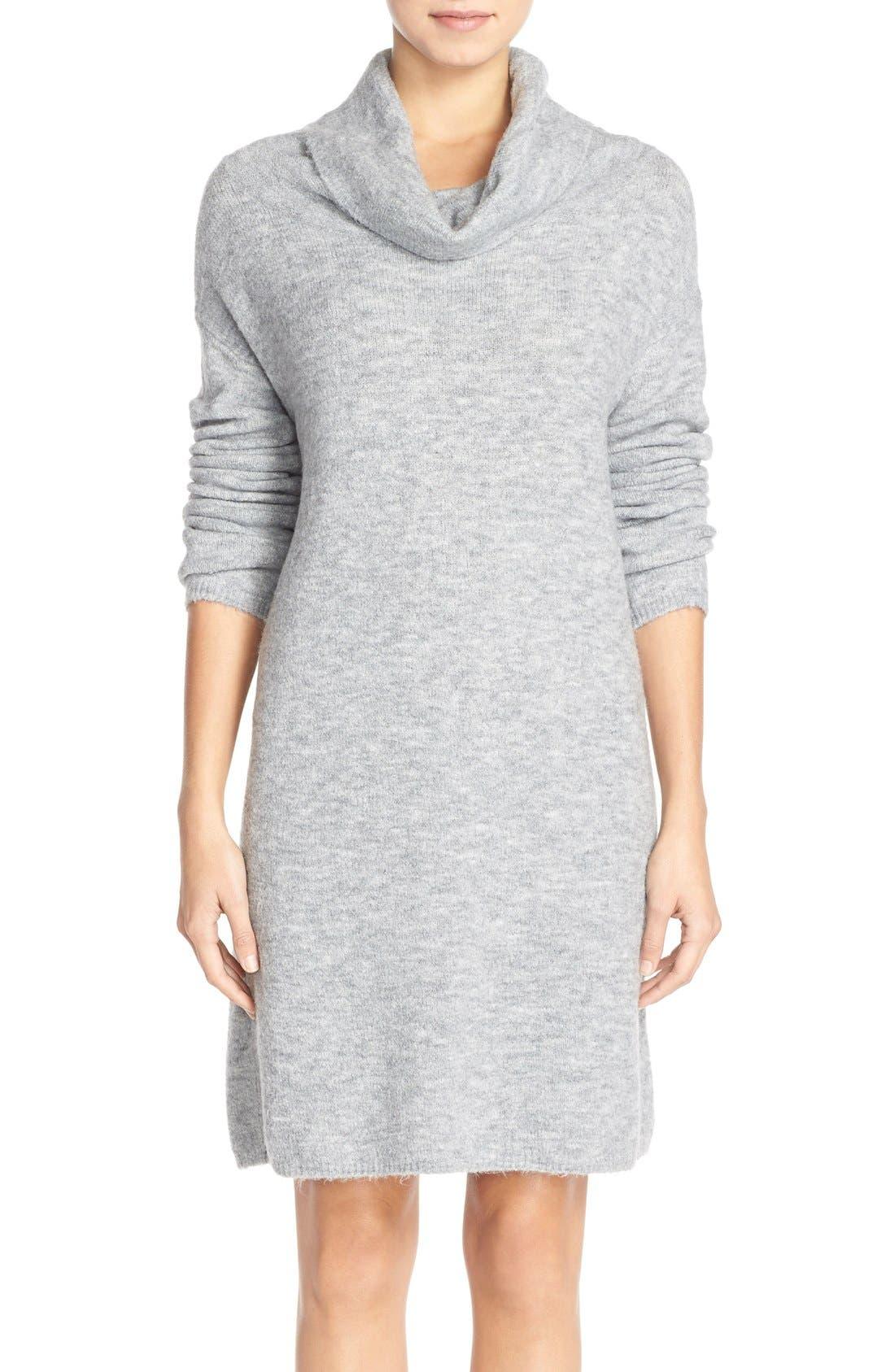 'Leighton' Turtleneck Sweater Dress,                             Main thumbnail 1, color,                             Grey