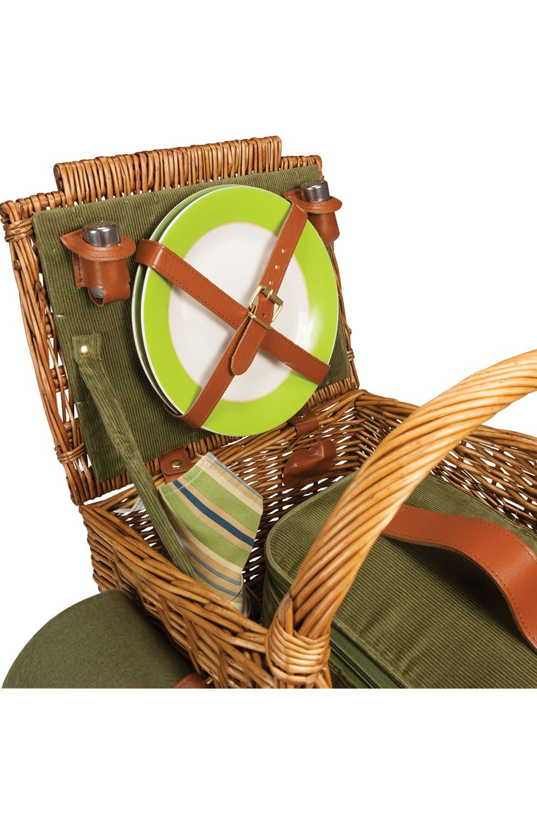'Somerset' Wicker Picnic Basket,                             Alternate thumbnail 3, color,                             Green