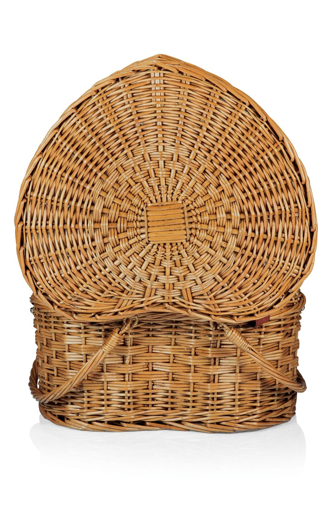 Heart Shaped Wicker Picnic Basket,                             Alternate thumbnail 3, color,                             Brown
