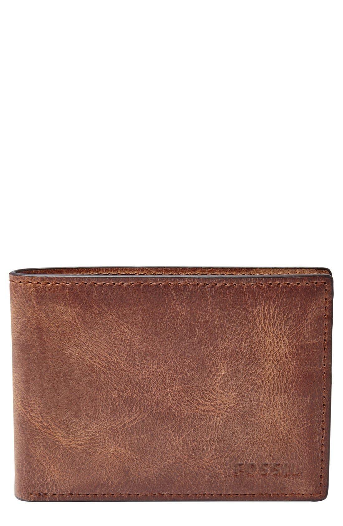 'Derrick' Leather Front Pocket Bifold Wallet,                         Main,                         color, Brown