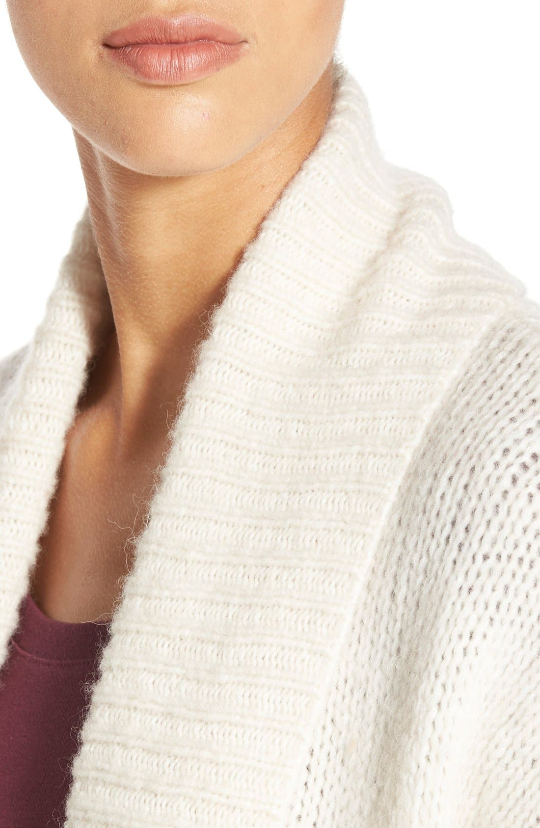 Long Merino Wool Blend Cardigan,                             Alternate thumbnail 4, color,                             Heather Oatmeal