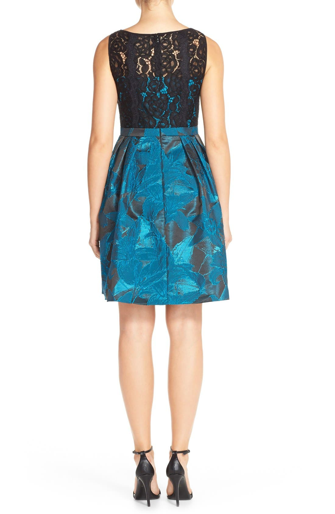 Alternate Image 2  - Adrianna Papell Lace Jacquard Fit & Flare Dress (Regular & Petite)