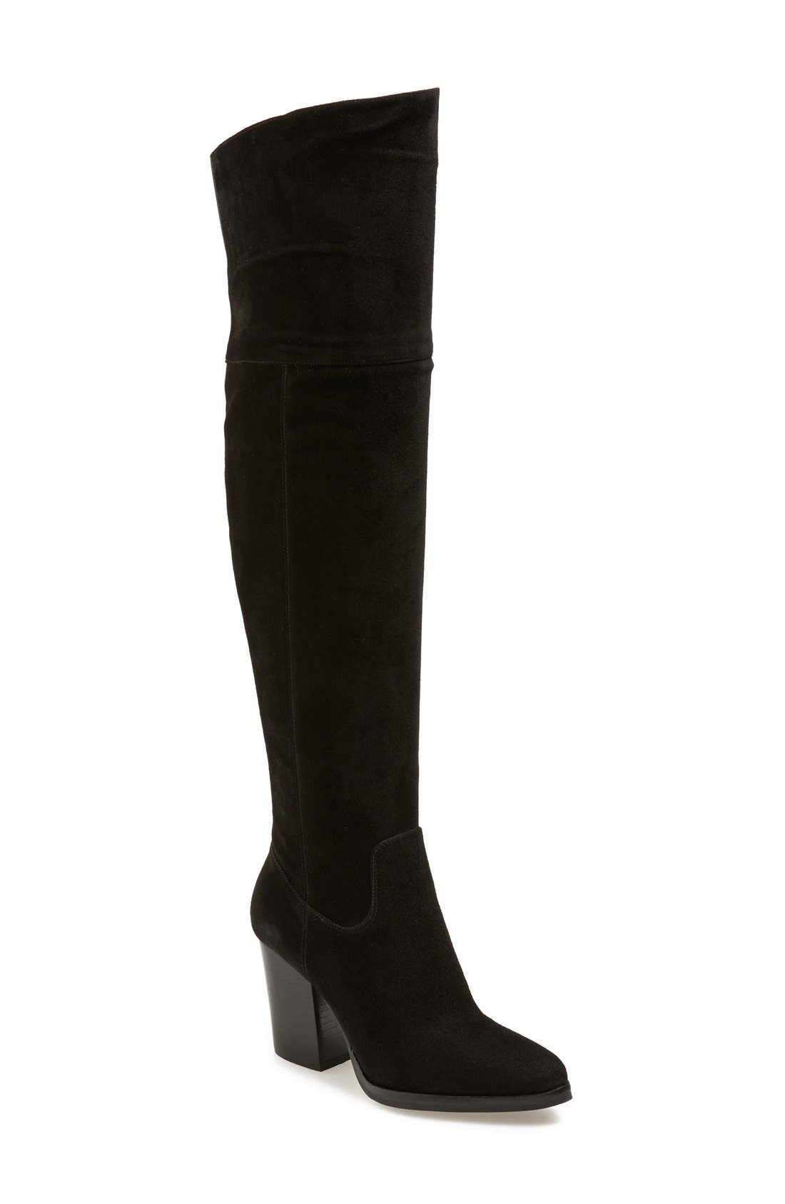 'Alana' Over the Knee Boot,                             Main thumbnail 1, color,                             Black Suede