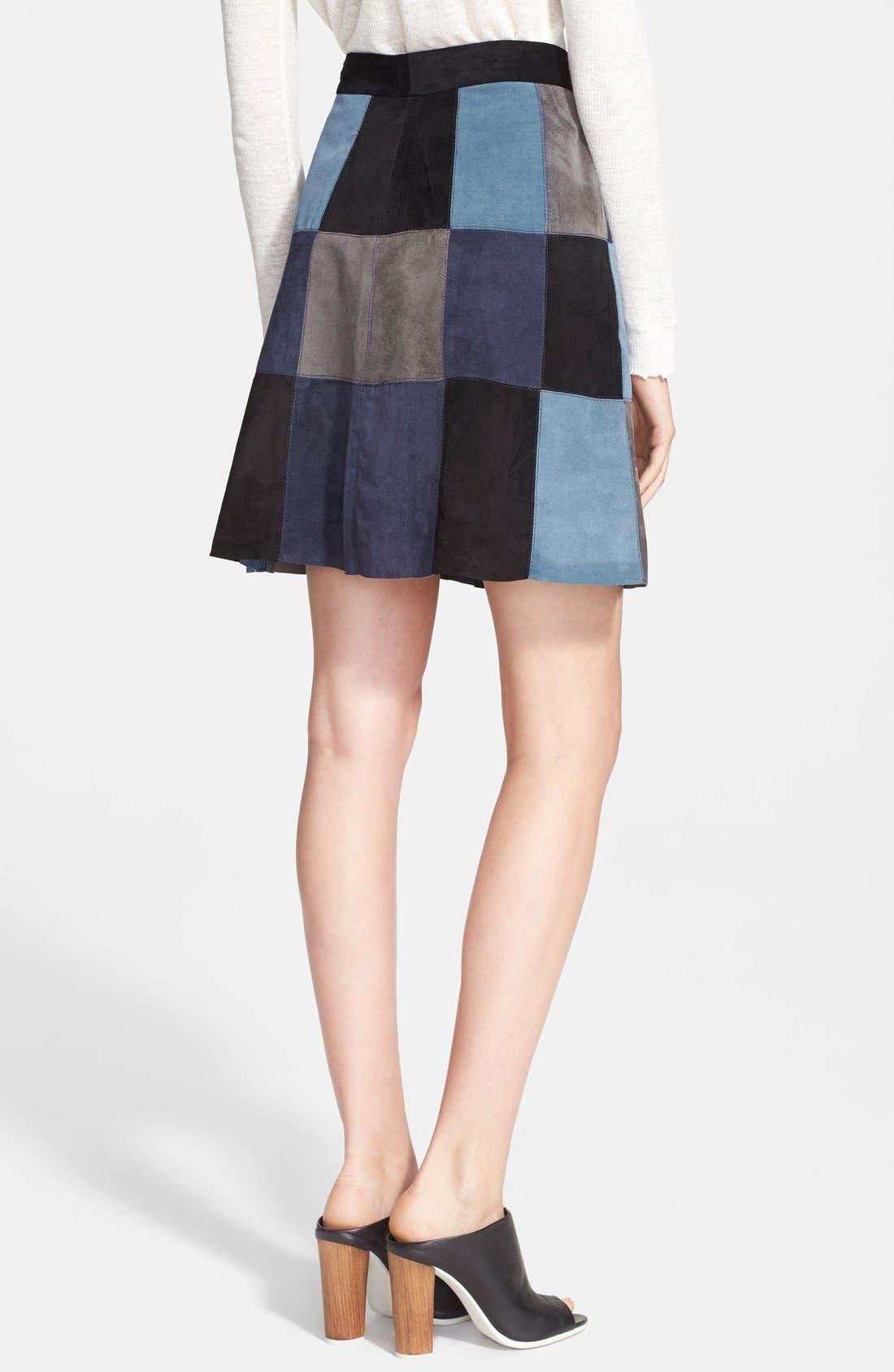 Alternate Image 2  - Sea Patchwork Suede Skirt