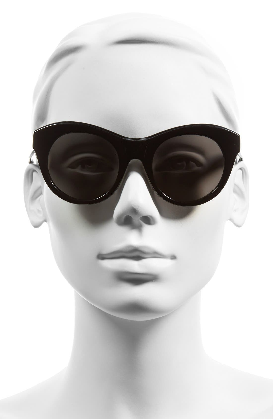 'Suffolk' 49mm Cat Eye Sunglasses,                             Alternate thumbnail 2, color,                             Shiny Black/ Smoke Mono Lens