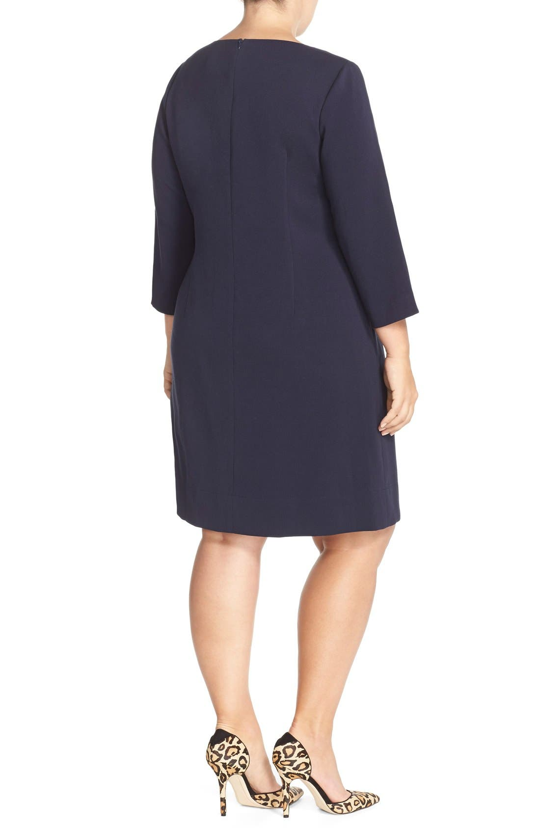 Alternate Image 2  - Eliza J Pocket Detail Shift Dress (Plus Size)