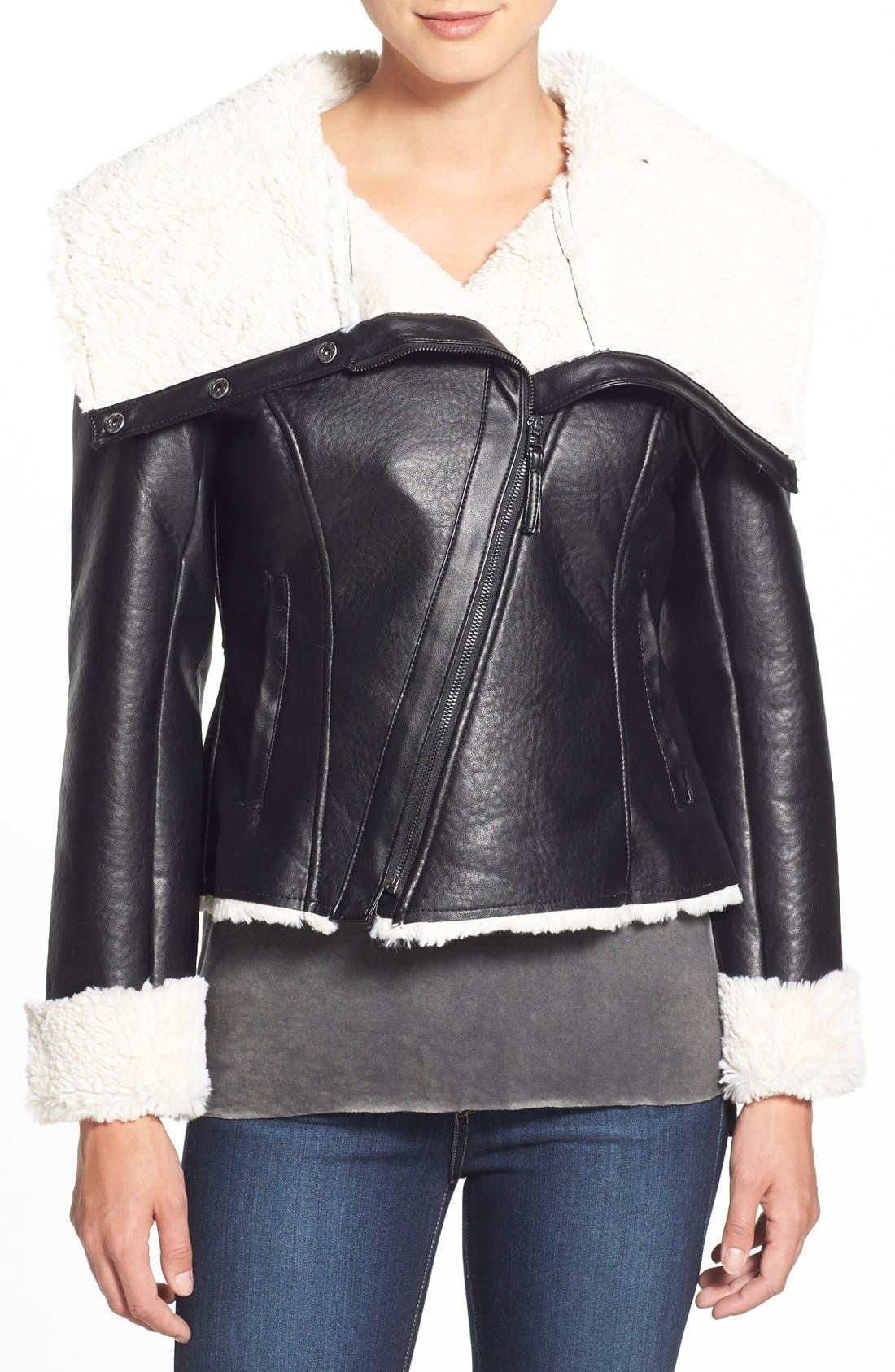 Alternate Image 3  - Steve Madden Faux Shearling Crop Moto Jacket
