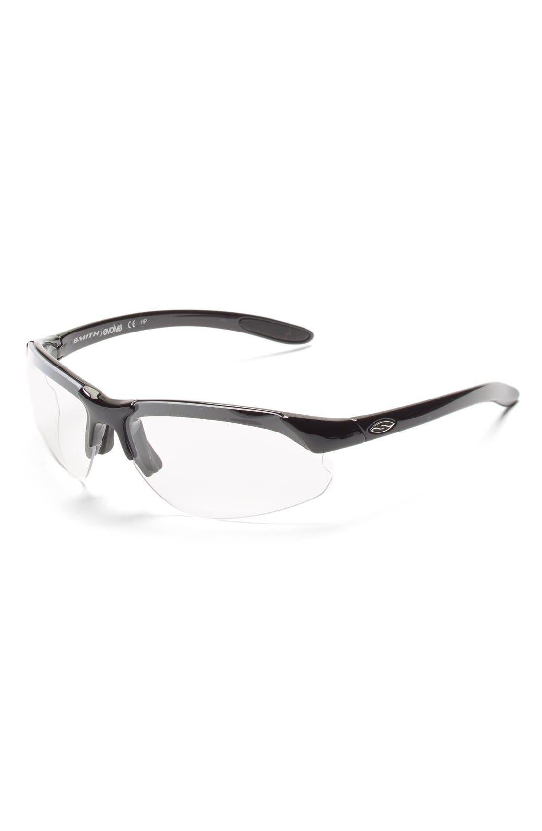 'Parallel DMax' 65mm Polarized Sunglasses,                             Alternate thumbnail 4, color,                             Black/ Polar Grey/ Clear