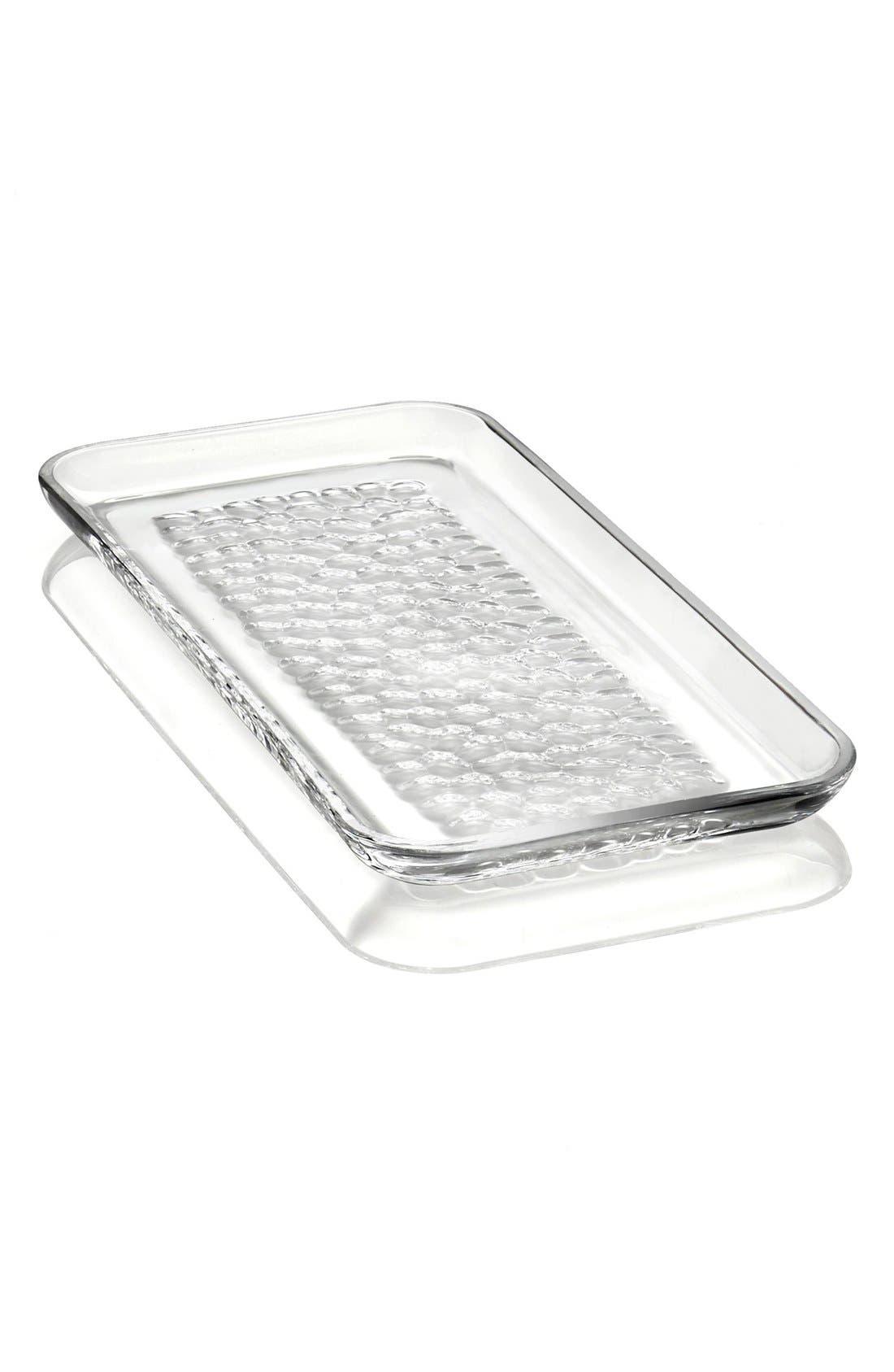 'Pearl' Rectangular Lead Crystal Platter,                         Main,                         color, White