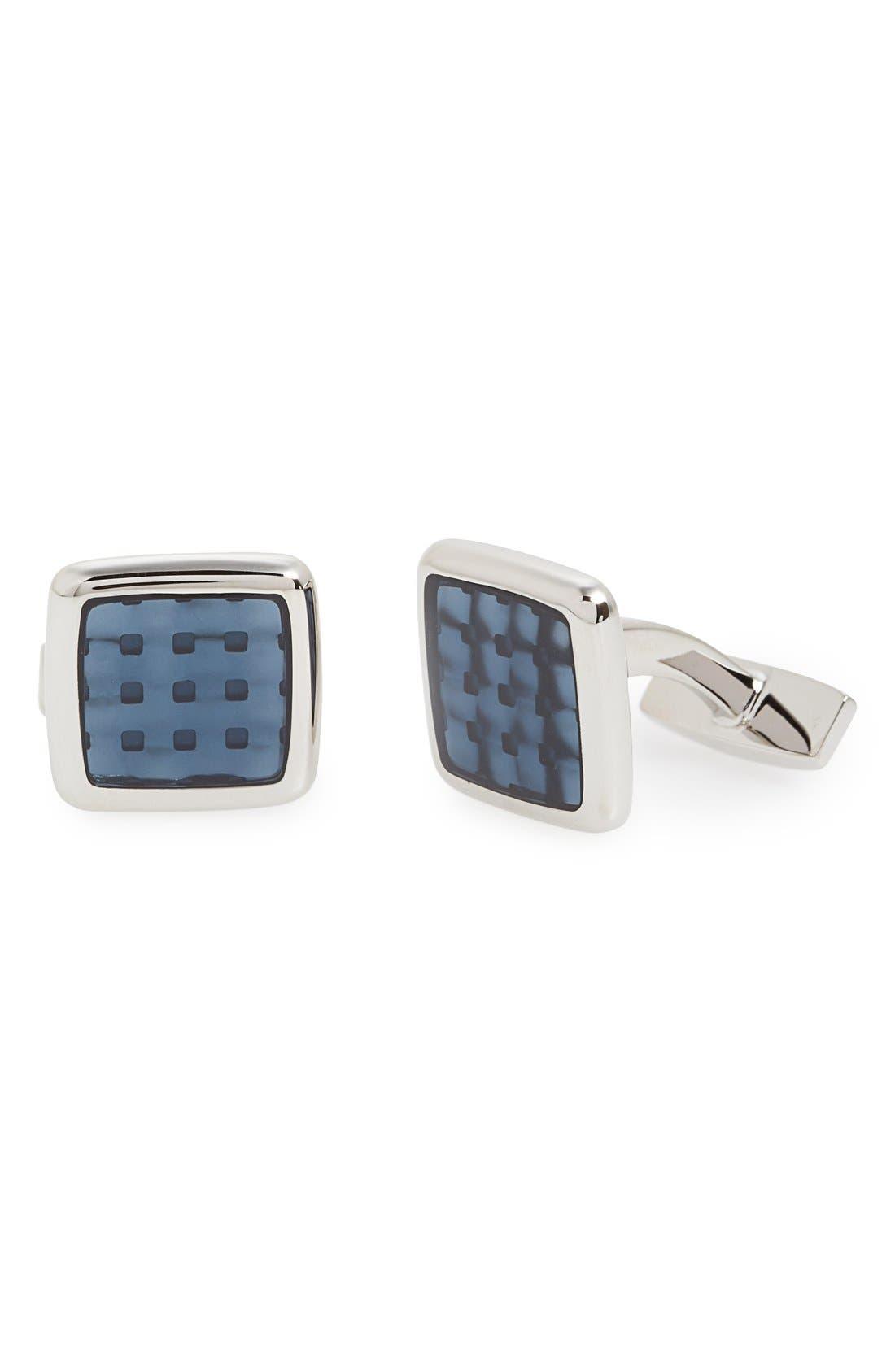 'Peter' Cuff Links,                         Main,                         color, Silver/ Medium Blue
