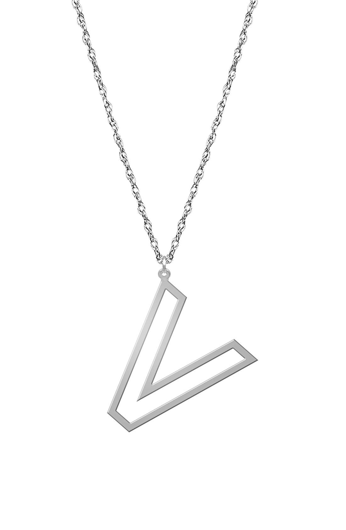 Varsity Initial Pendant Necklace,                         Main,                         color, Silver - V