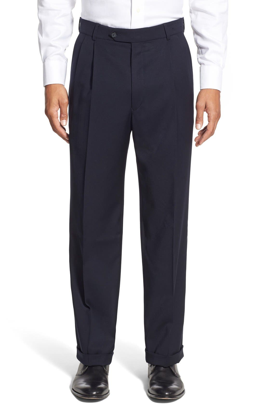 BALLIN Pleated Solid Wool Trousers in Navy