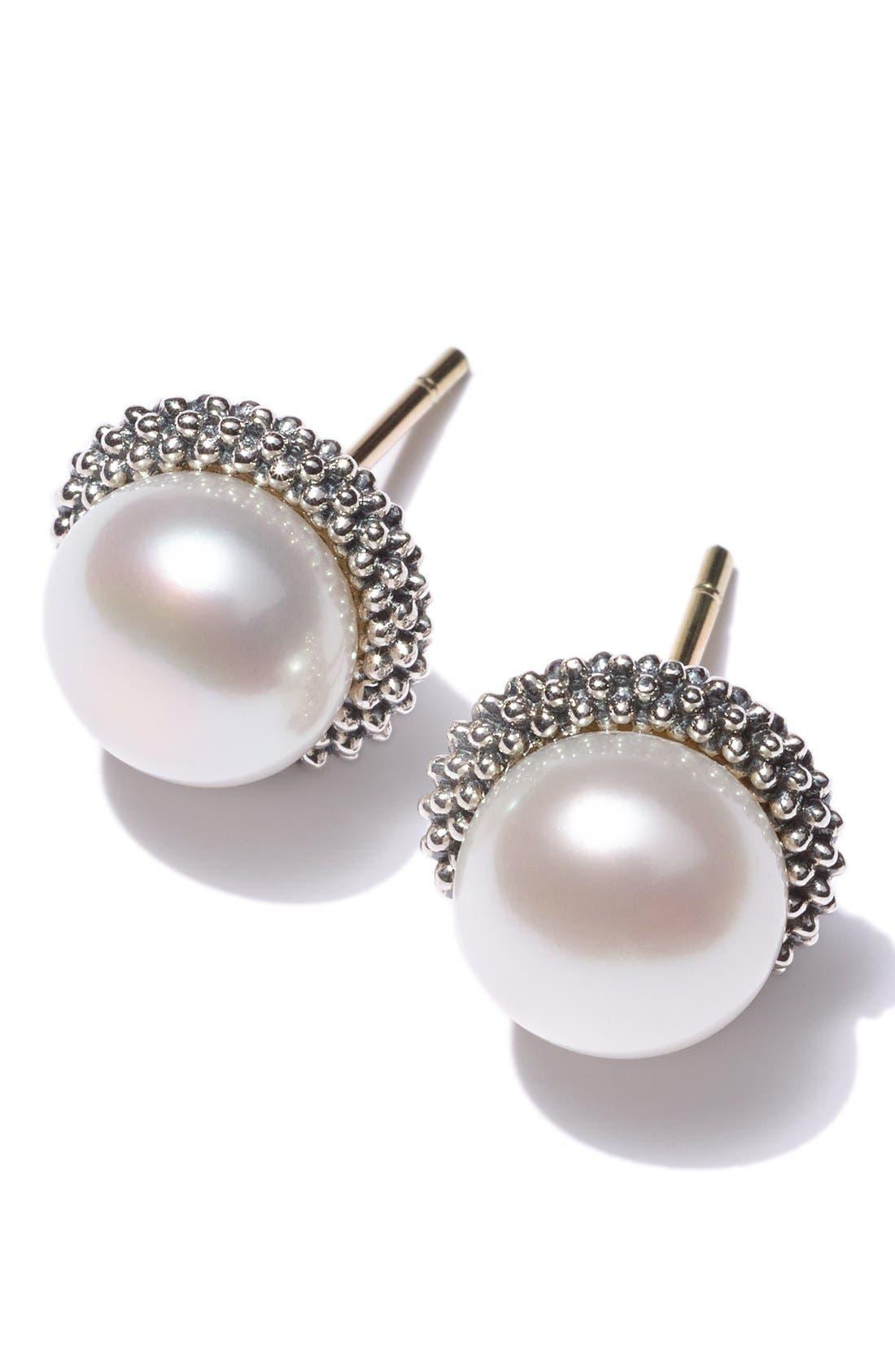 Alternate Image 3  - LAGOS 'Luna' Pearl Small Stud Earrings