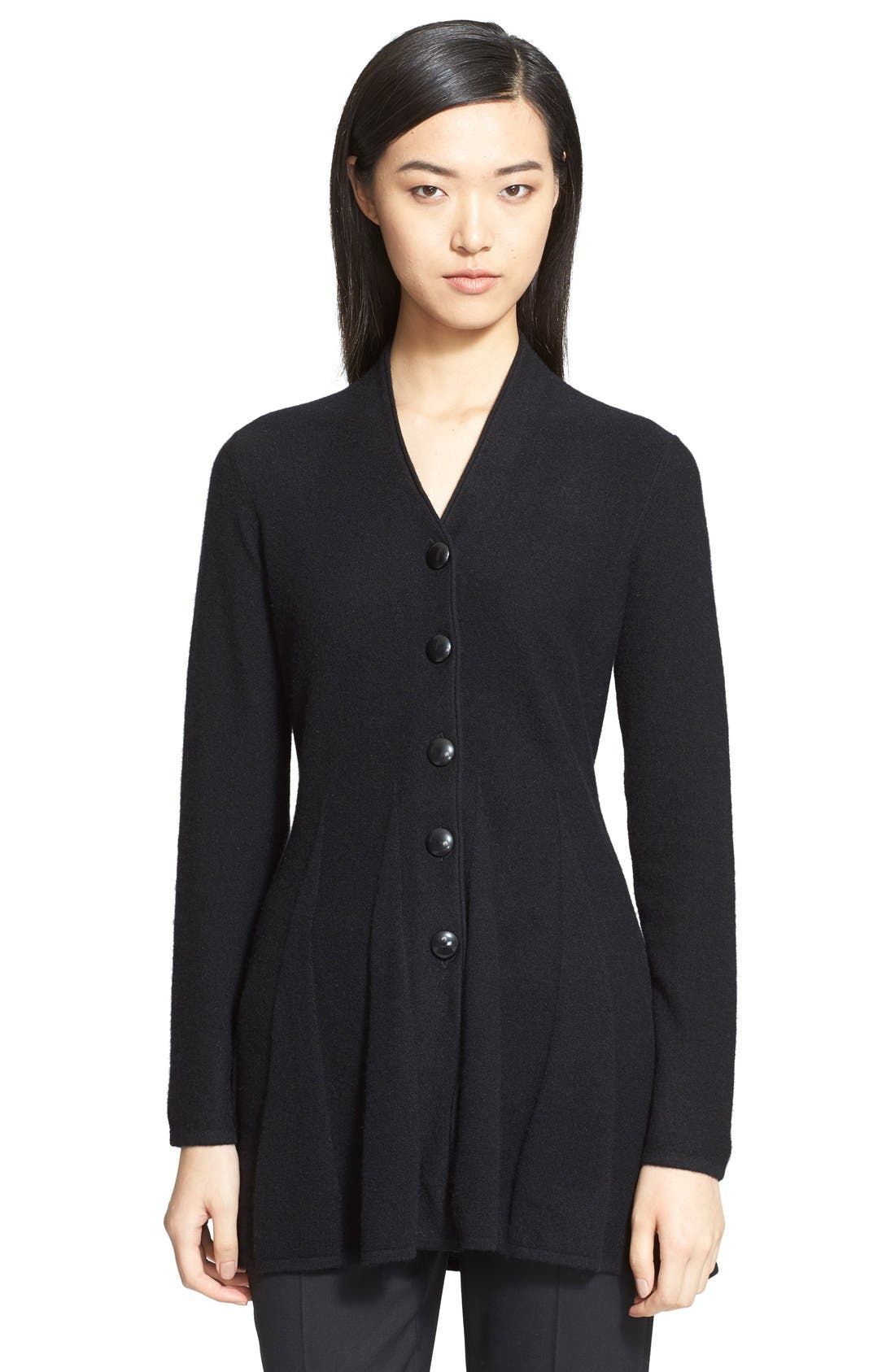 Alternate Image 1 Selected - Armani Collezioni Godet Pleat Cashmere Cardigan
