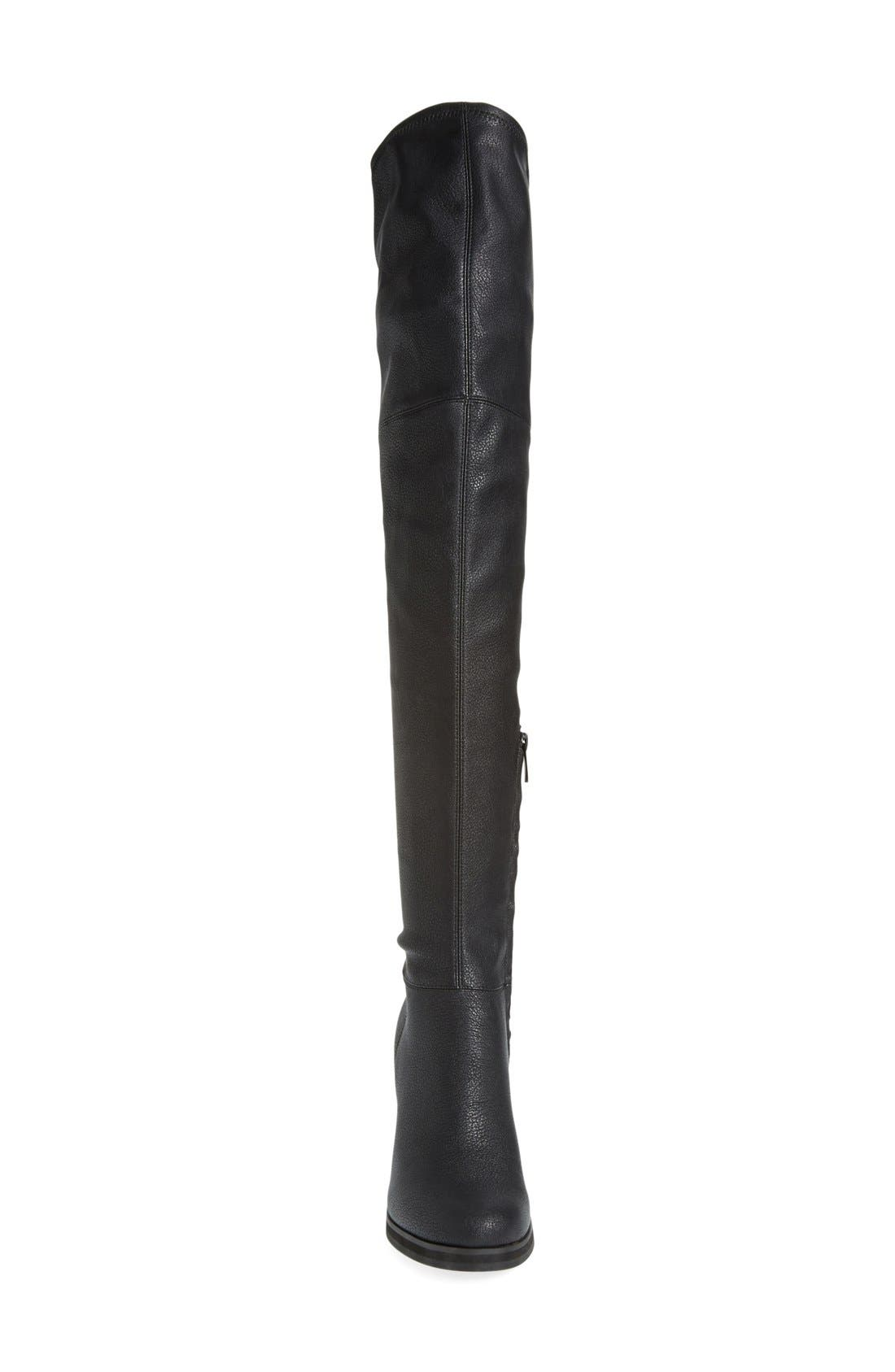 'Bisma' Over the Knee Boot,                             Alternate thumbnail 3, color,                             Black Pebbled Stretch