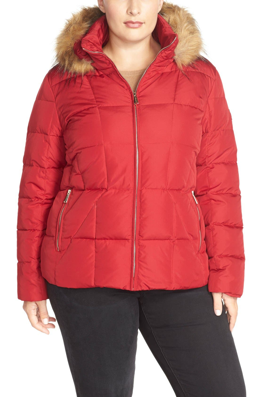 Hooded Down & Feather Fill Jacket with Faux Fur Trim,                         Main,                         color, Crimson