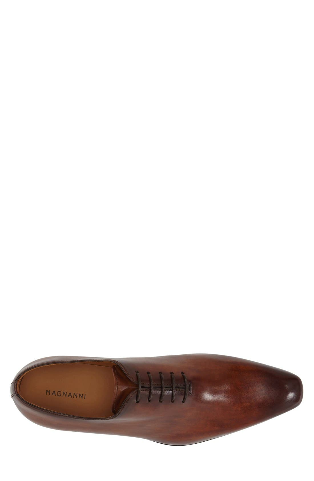 'Cruz' Plain Toe Oxford,                             Alternate thumbnail 3, color,                             Cognac Leather