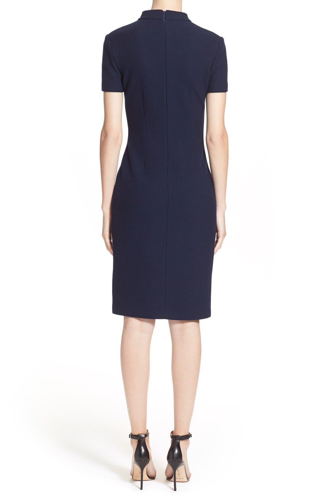 Micro Bouclé Sheath Dress,                             Alternate thumbnail 2, color,                             Navy
