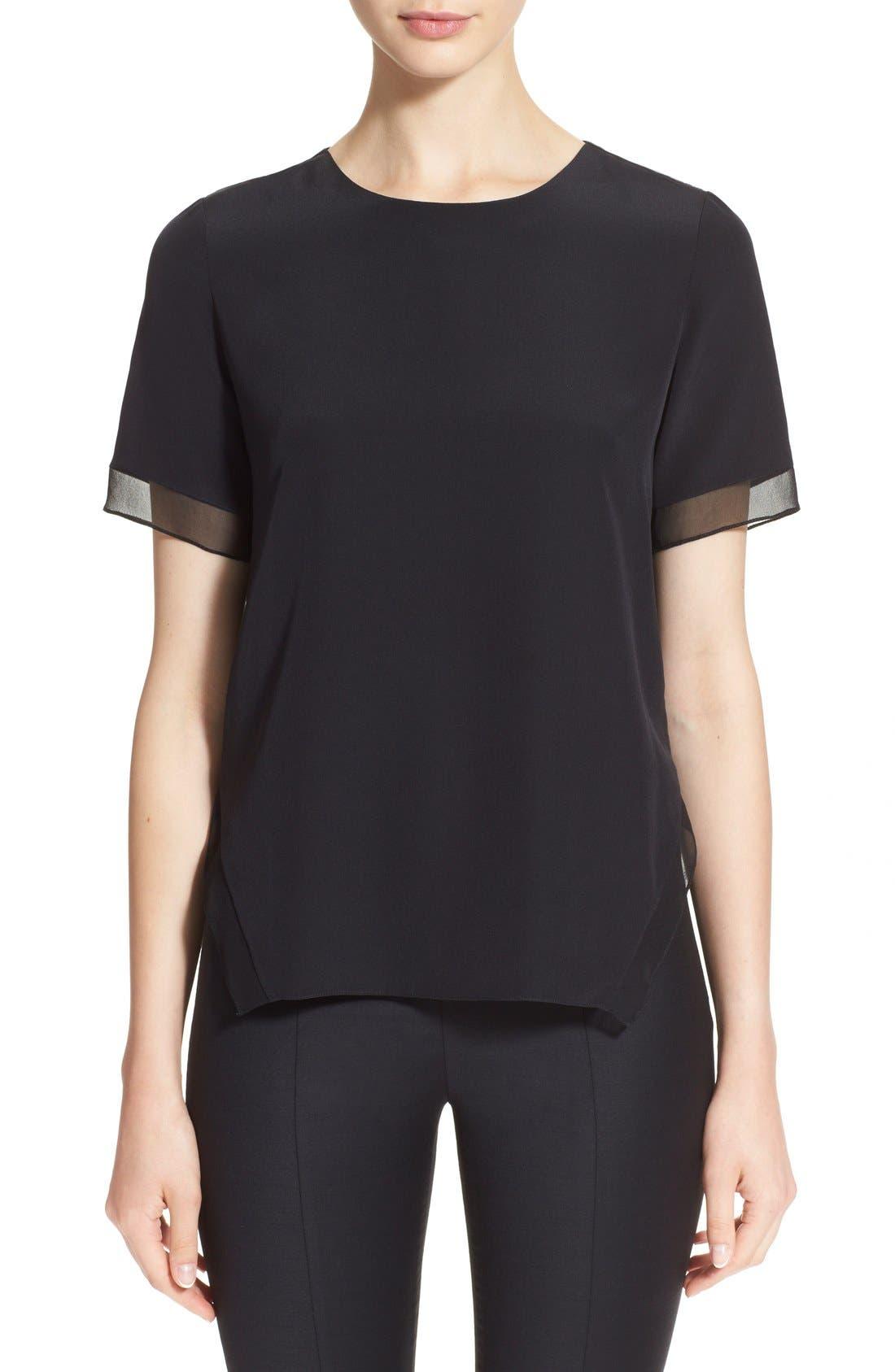 Short Sleeve Keyhole Silk Blouse,                         Main,                         color, Black