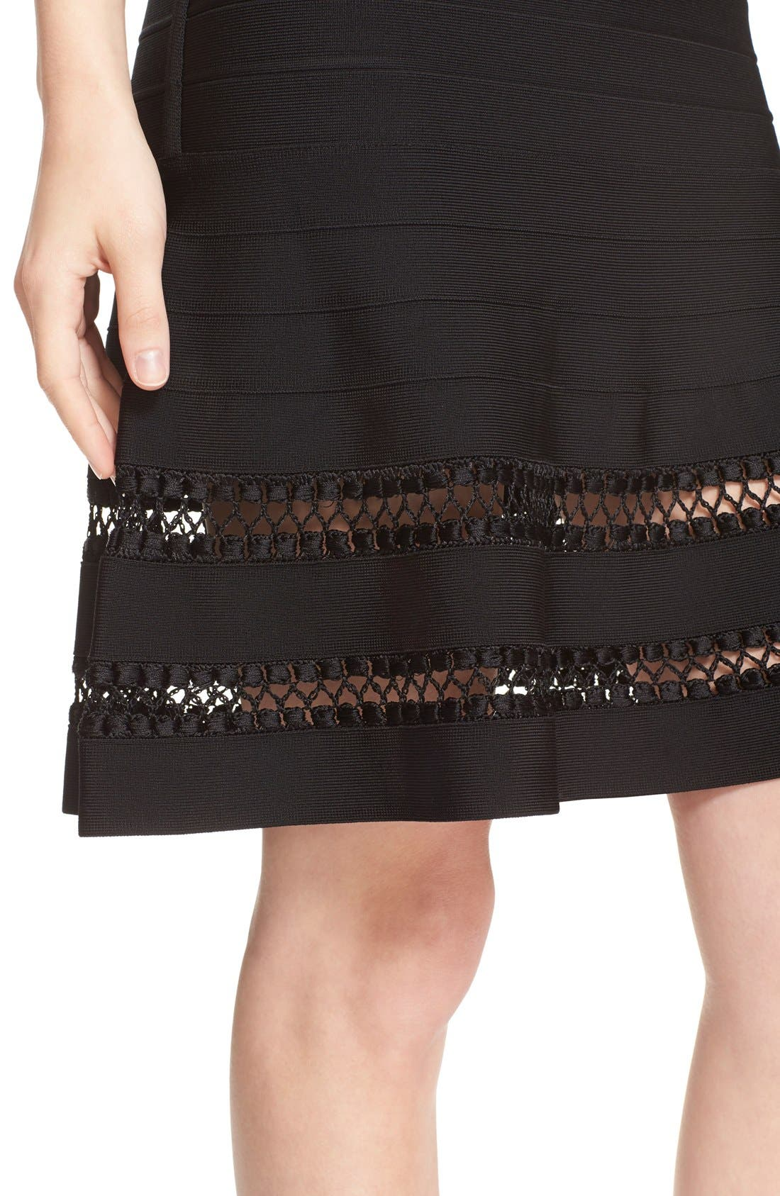 Alternate Image 4  - Herve Leger 'Amelie' Crochet Cage Stitch Bandage Skirt