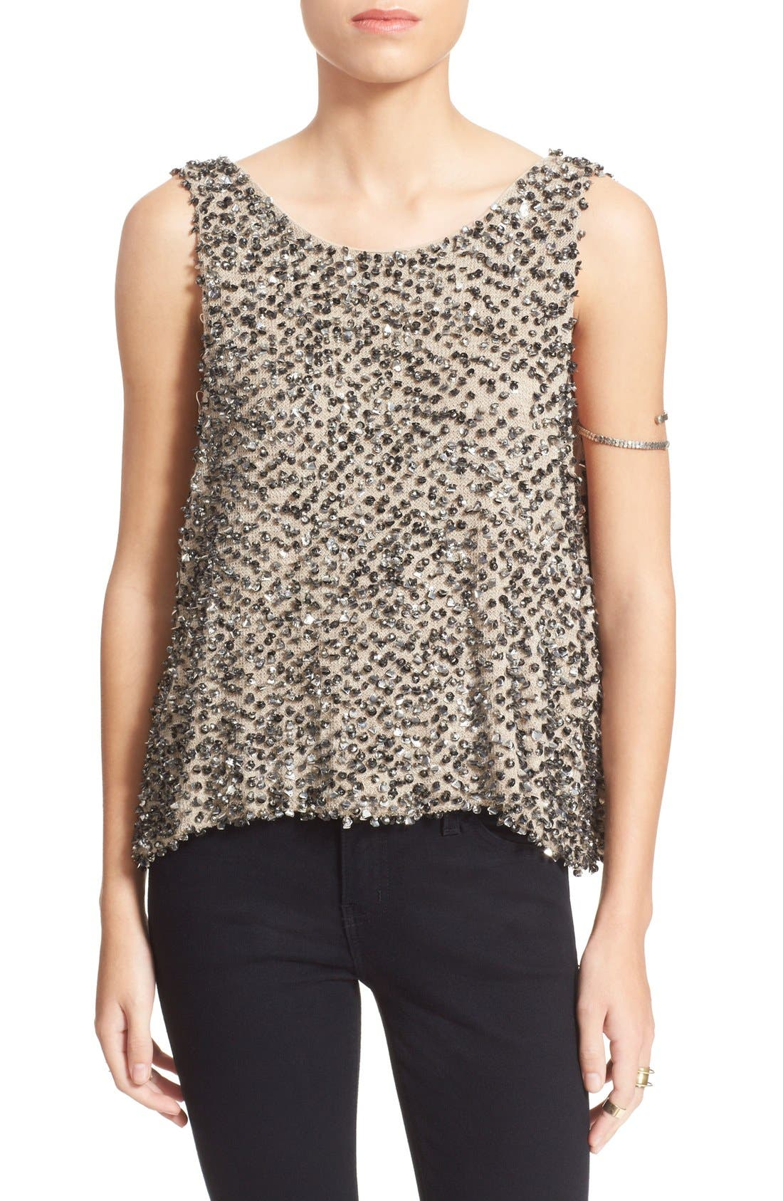 Main Image - Free People Sequin Open Back Knit Shell