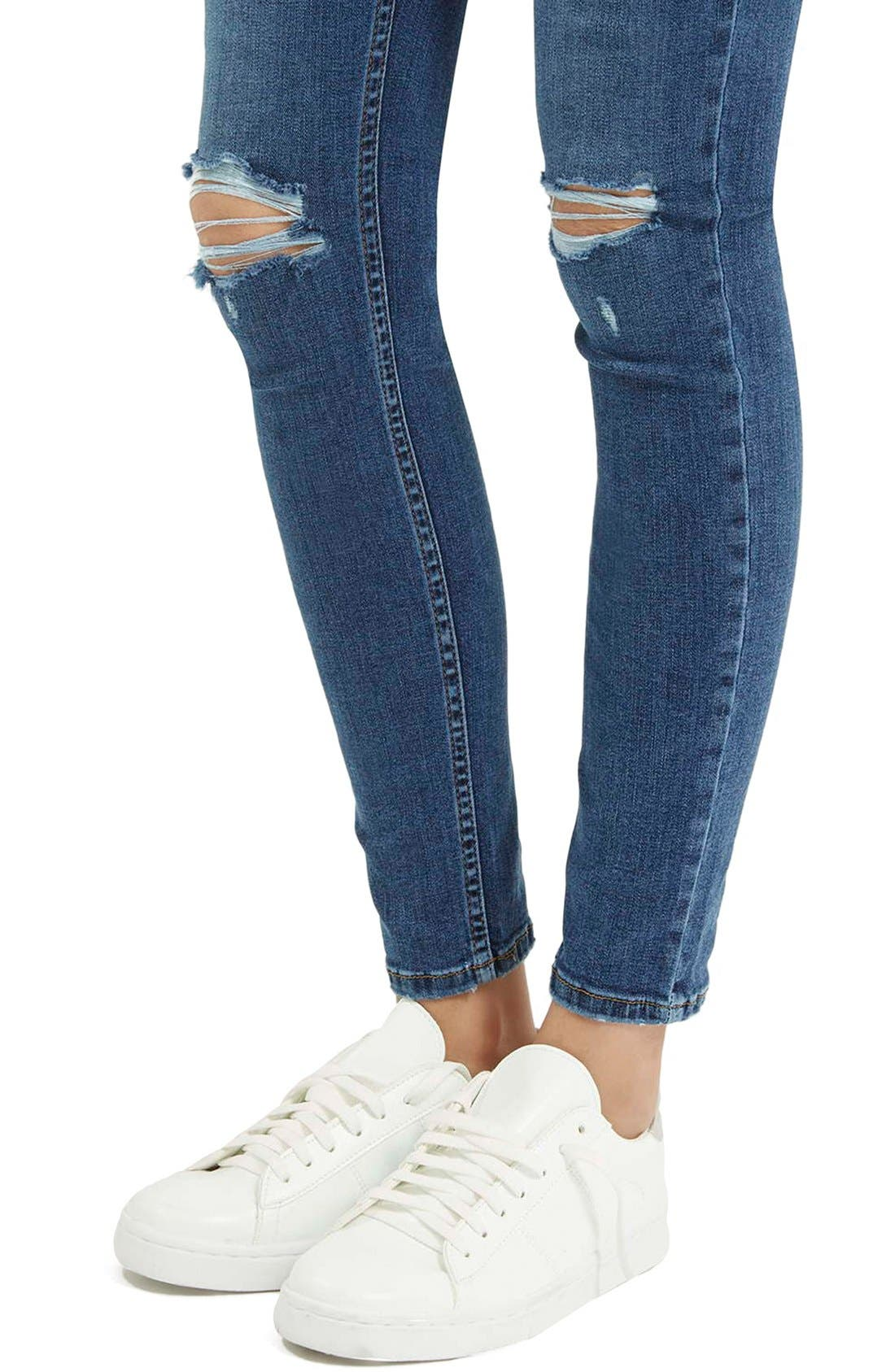 Alternate Image 5  - Topshop Moto 'Jamie' Ripped Ankle Jeans (Mid Denim) (Regular & Short)