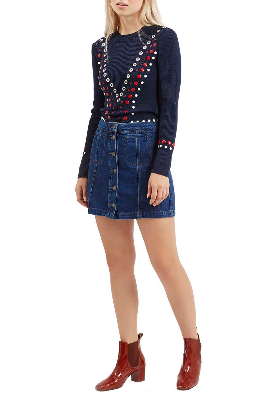 Alternate Image 2  - TopshopButton Front Denim Skirt