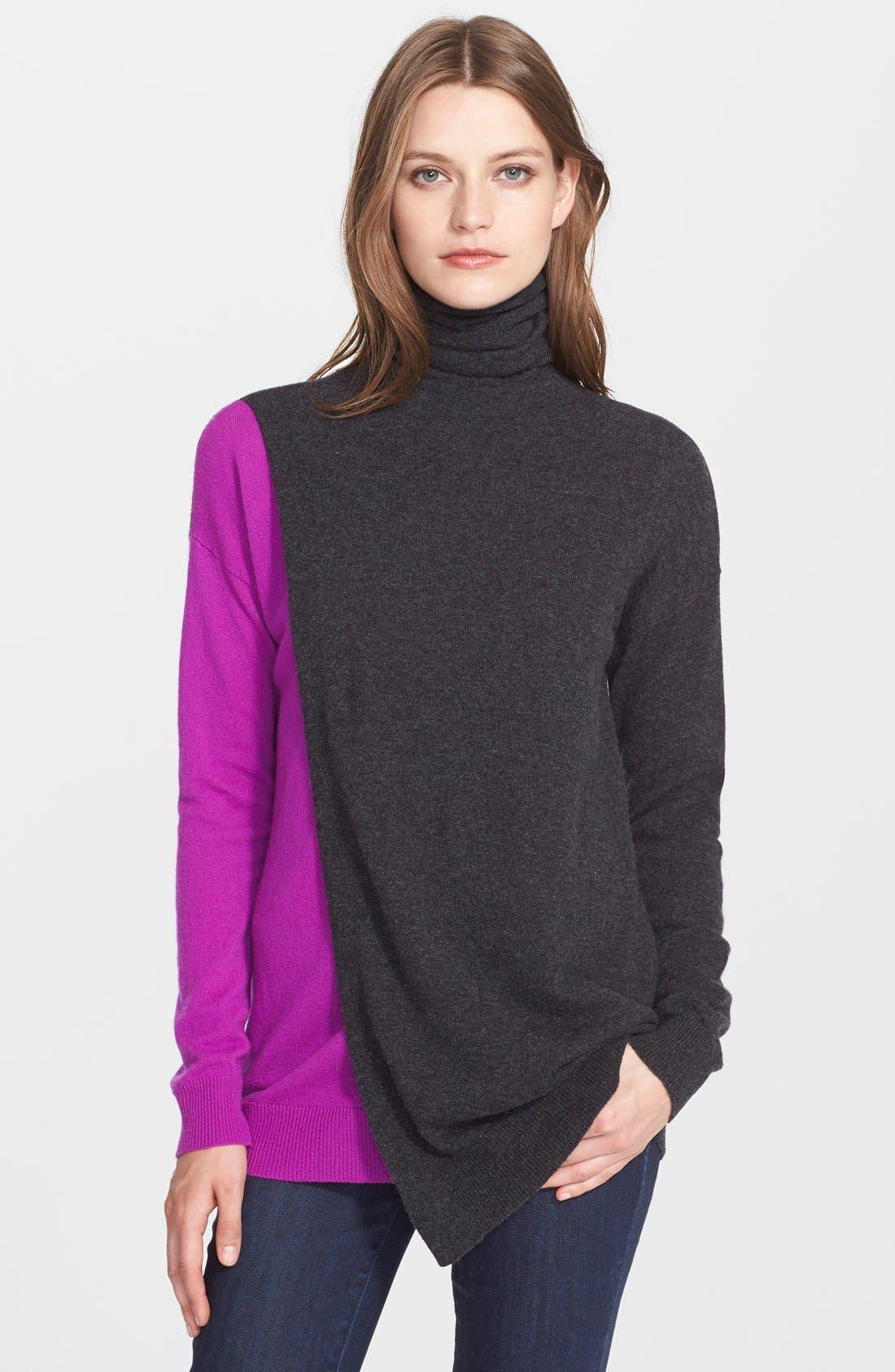 Alternate Image 1 Selected - autumn cashmere Colorblock Overlap Cashmere Sweater