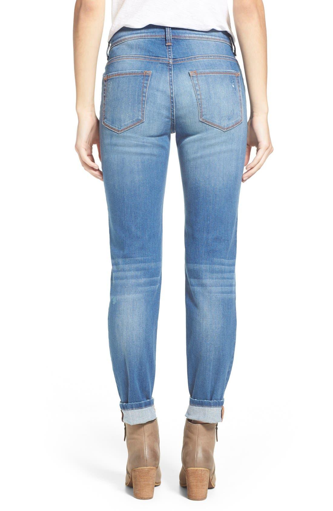 Alternate Image 2  - SP Black Rip & Repair Skinny Jeans (Light Wash)