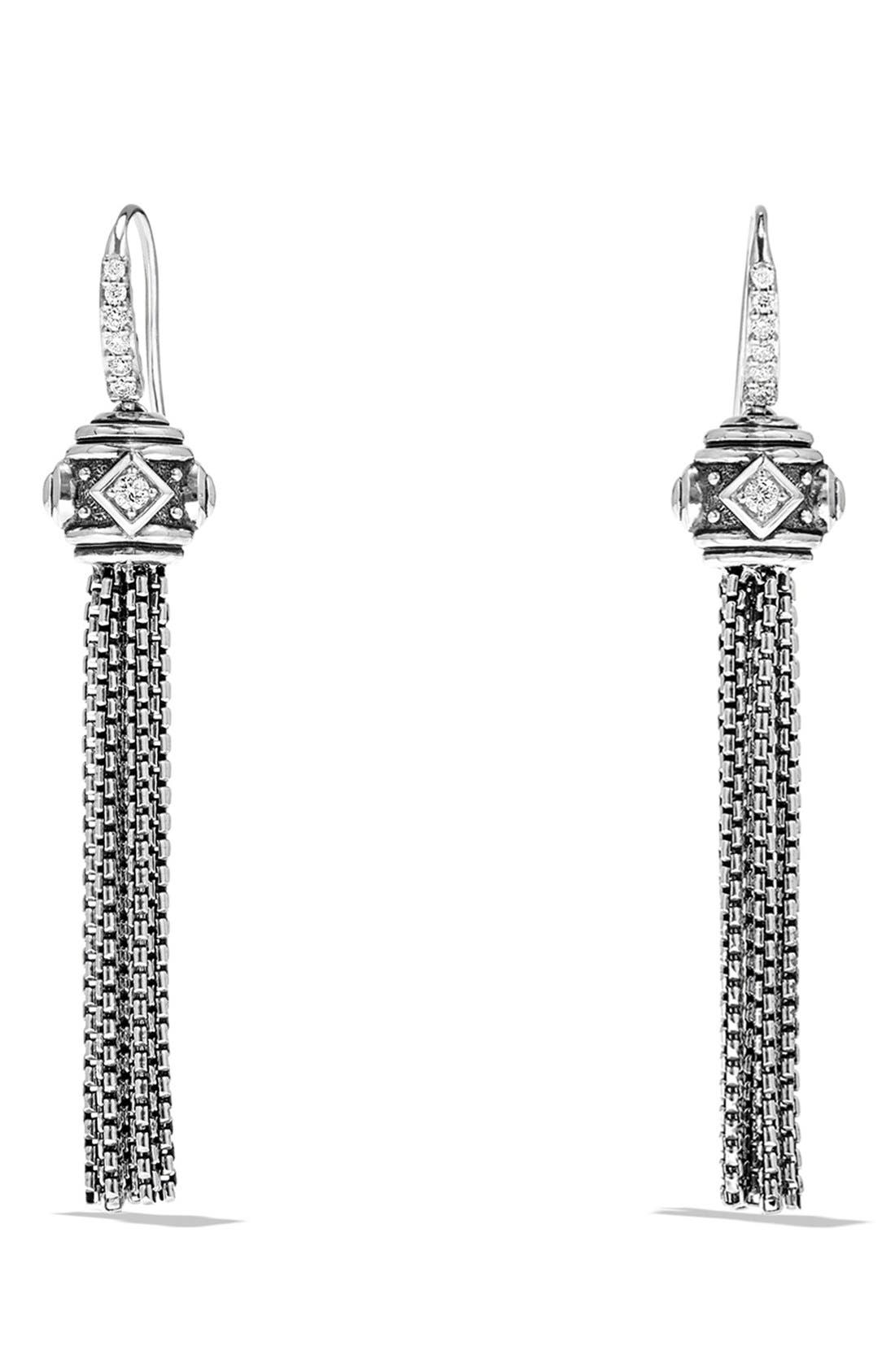 'Renaissance' Tassel Earrings with Diamonds in Silver,                         Main,                         color, Diamond
